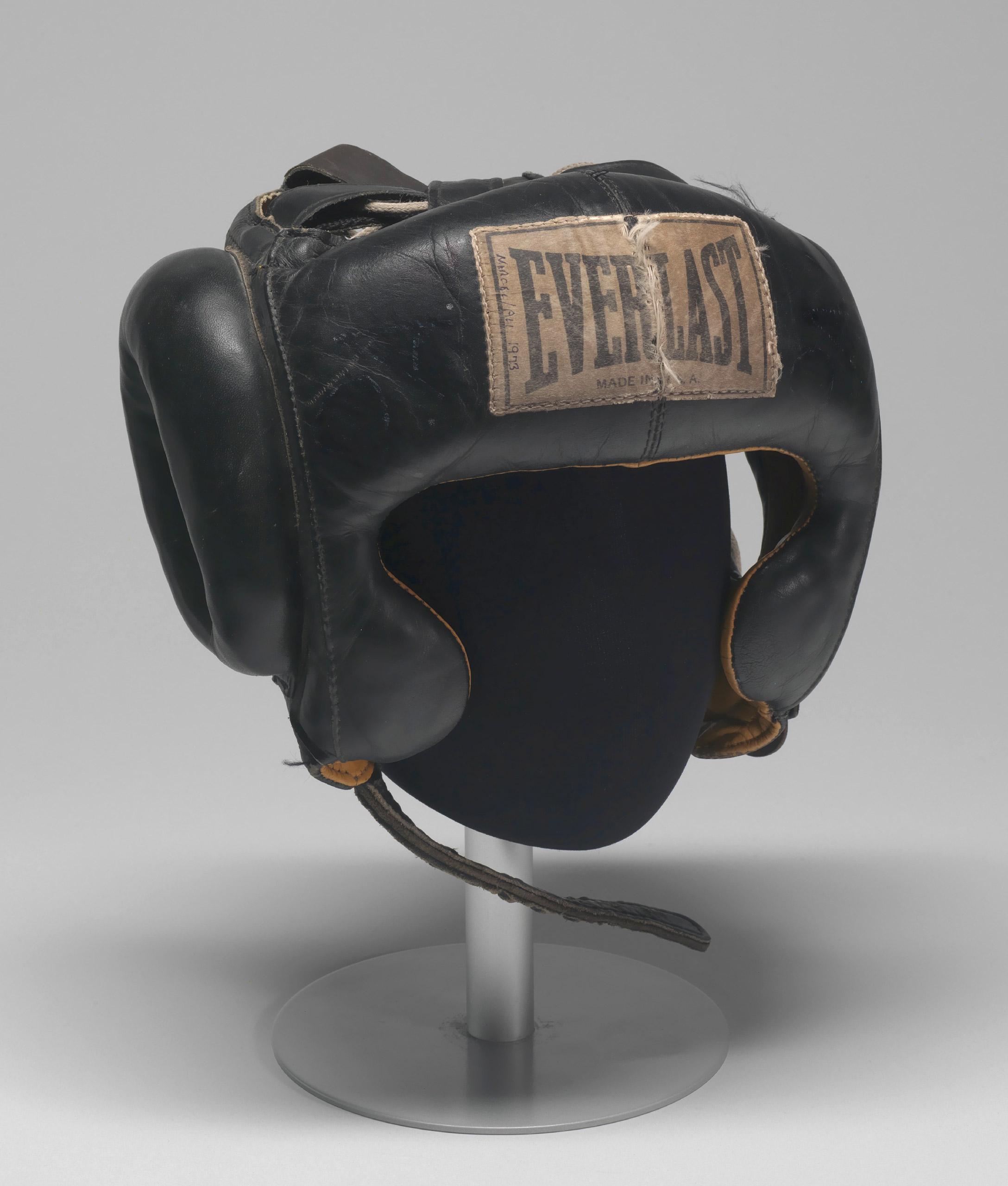 Boxing headgear worn by Muhammad Ali, ca. 1973.
