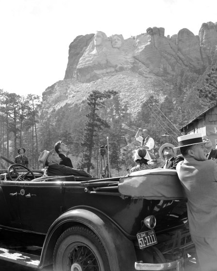 Franklin Roosevelt at Mount Rushmore in 1936.