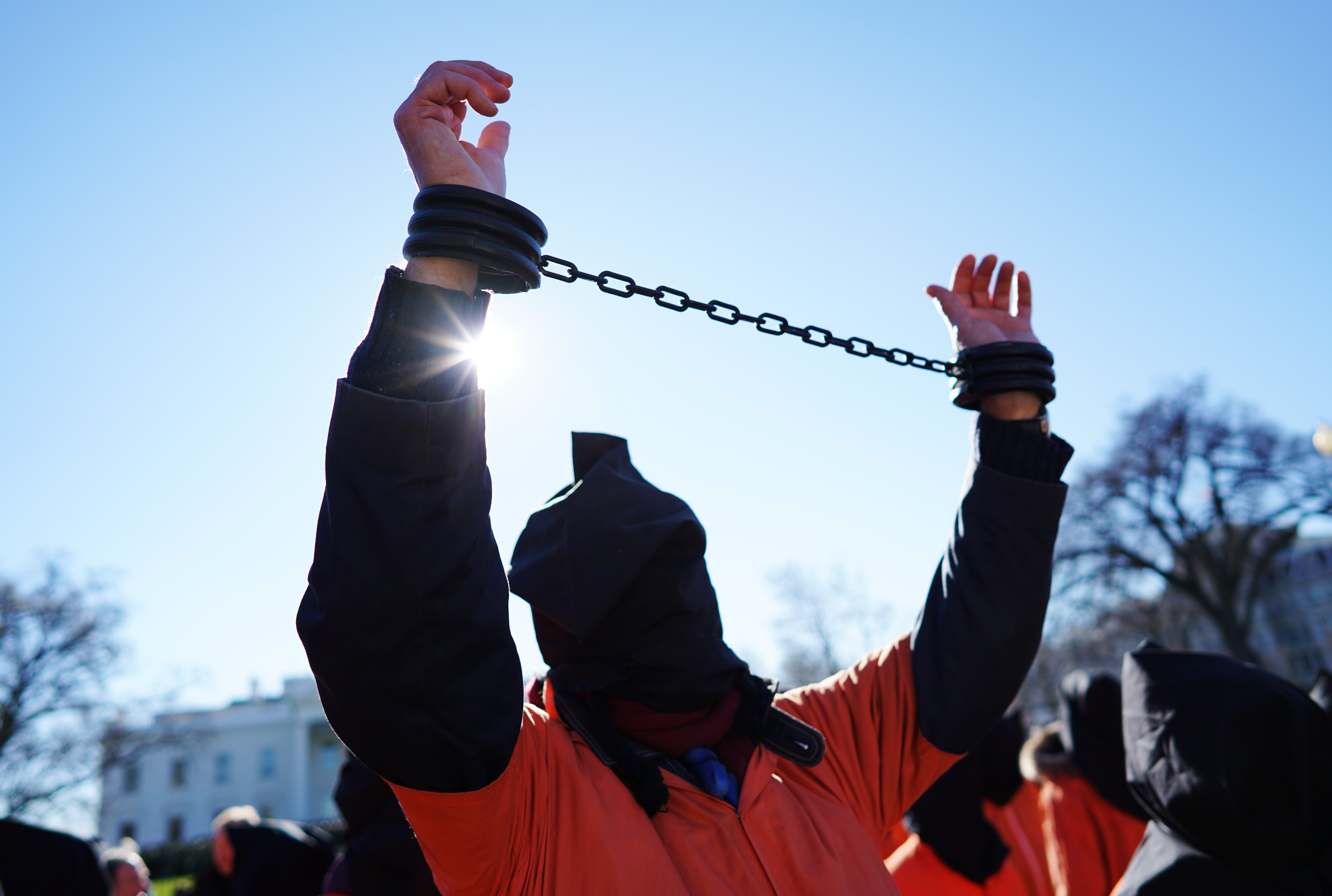 A protestor calling for the closure of the Guantanamo Bay Prison on January 11, 2016, in front of the White House.
