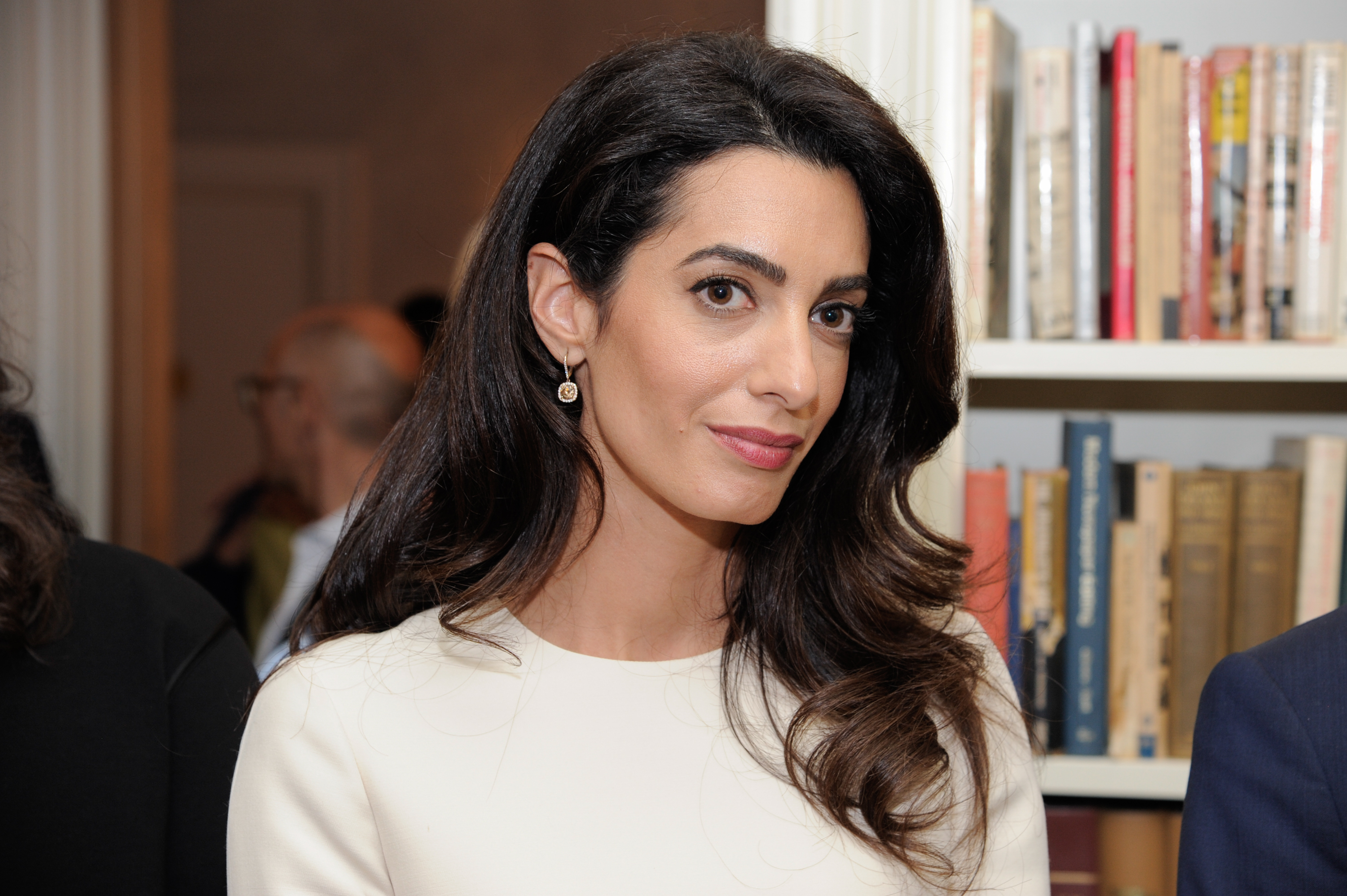 Amal Clooney attends the Women In The World reception honoring appointment of UN Office on Drugs and Crime Goodwill Ambassador Nadia Murad on September 16, 2016 in New York City.