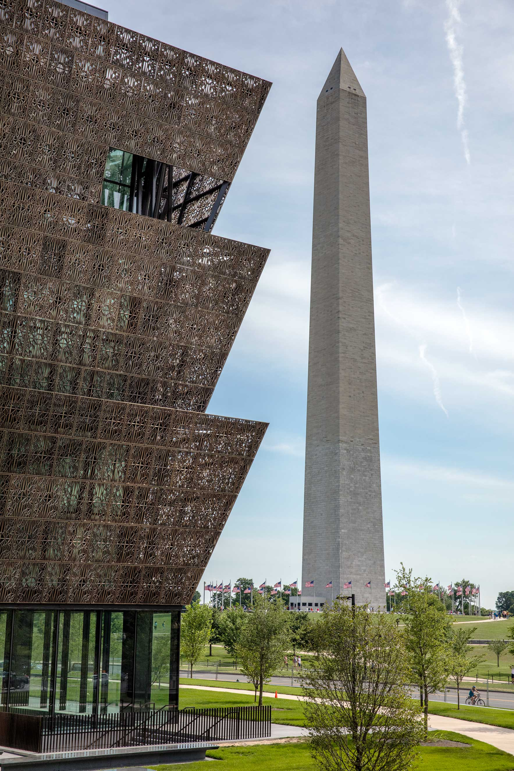 Exterior of the National Museum of African American History and Culture.