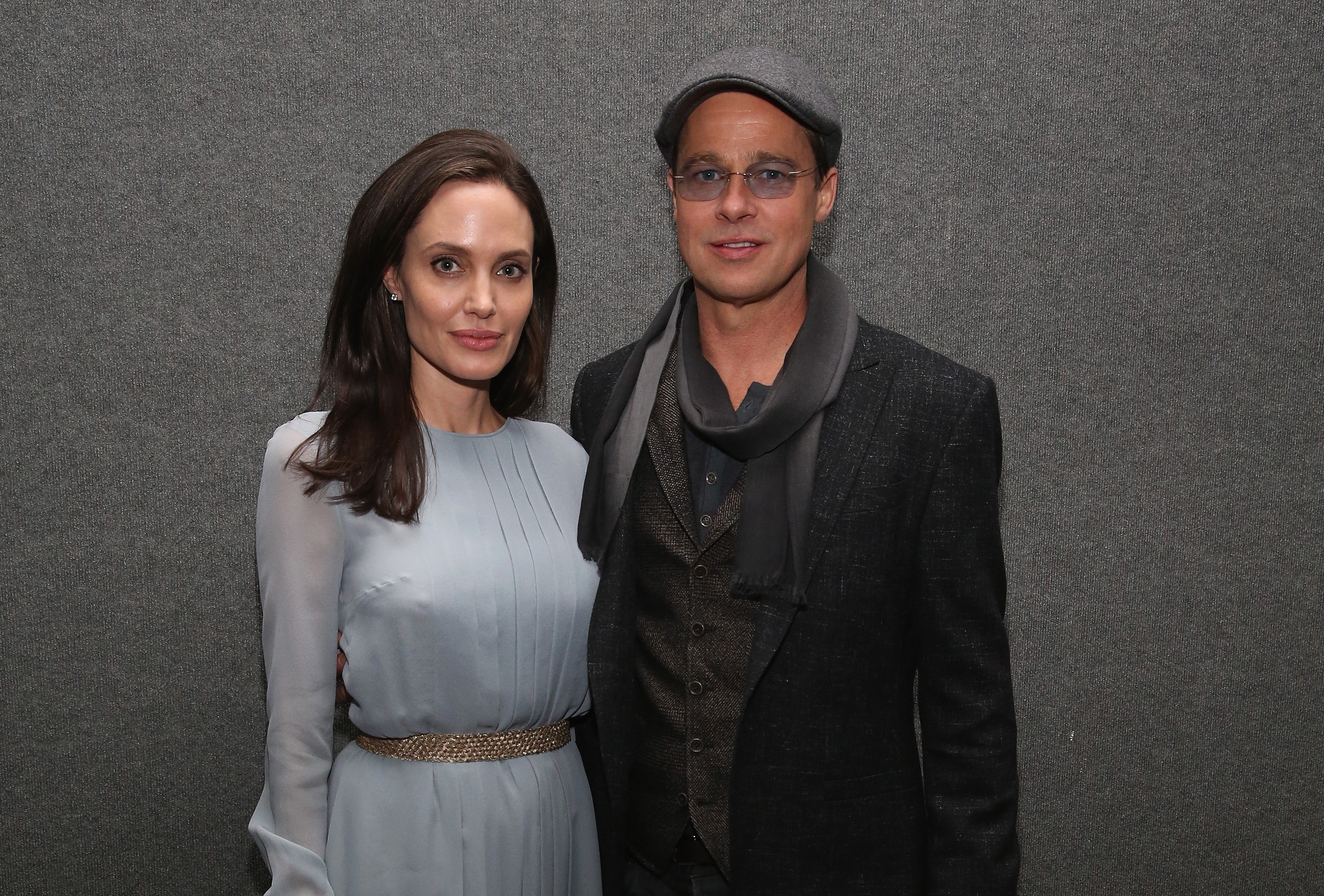 Angelina Jolie and Brad Pitt attend an official Academy Screening of BY THE SEA hosted by The Academy Of Motion Picture Arts And Sciences in New York City on Nov. 3, 2015.