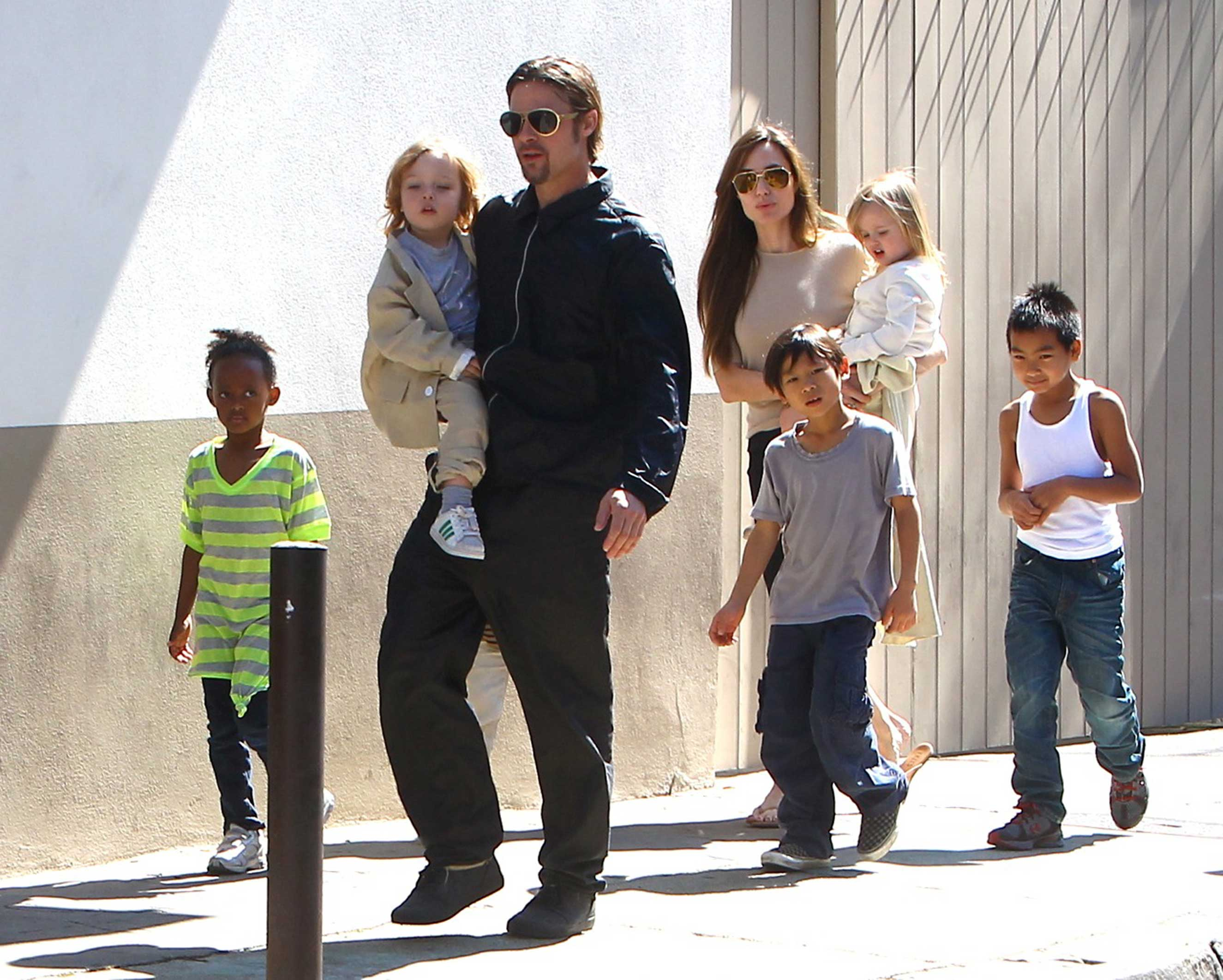 Jolie is filing for sole custody of her and Pitt's six children (seen here in 2011, sans Shiloh)