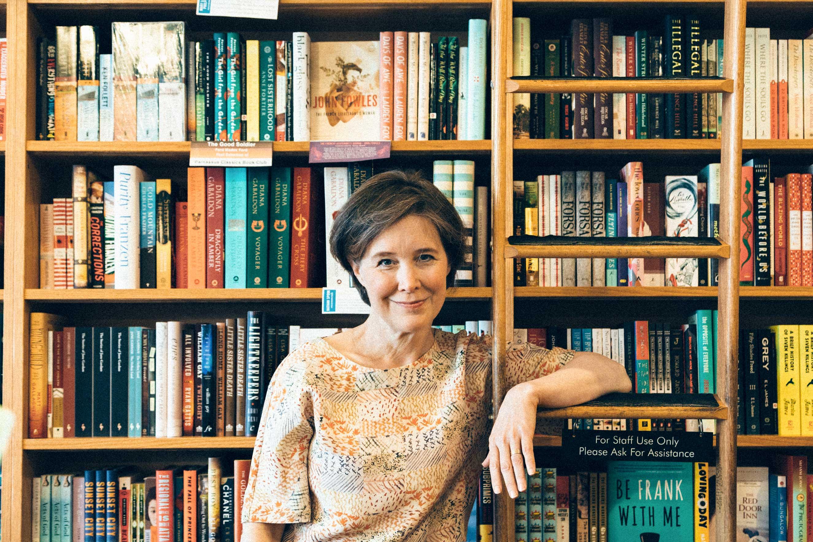 Portrait of author Ann Patchett in her bookstore, Parnassus Books, in Nasville on 15 April 2016