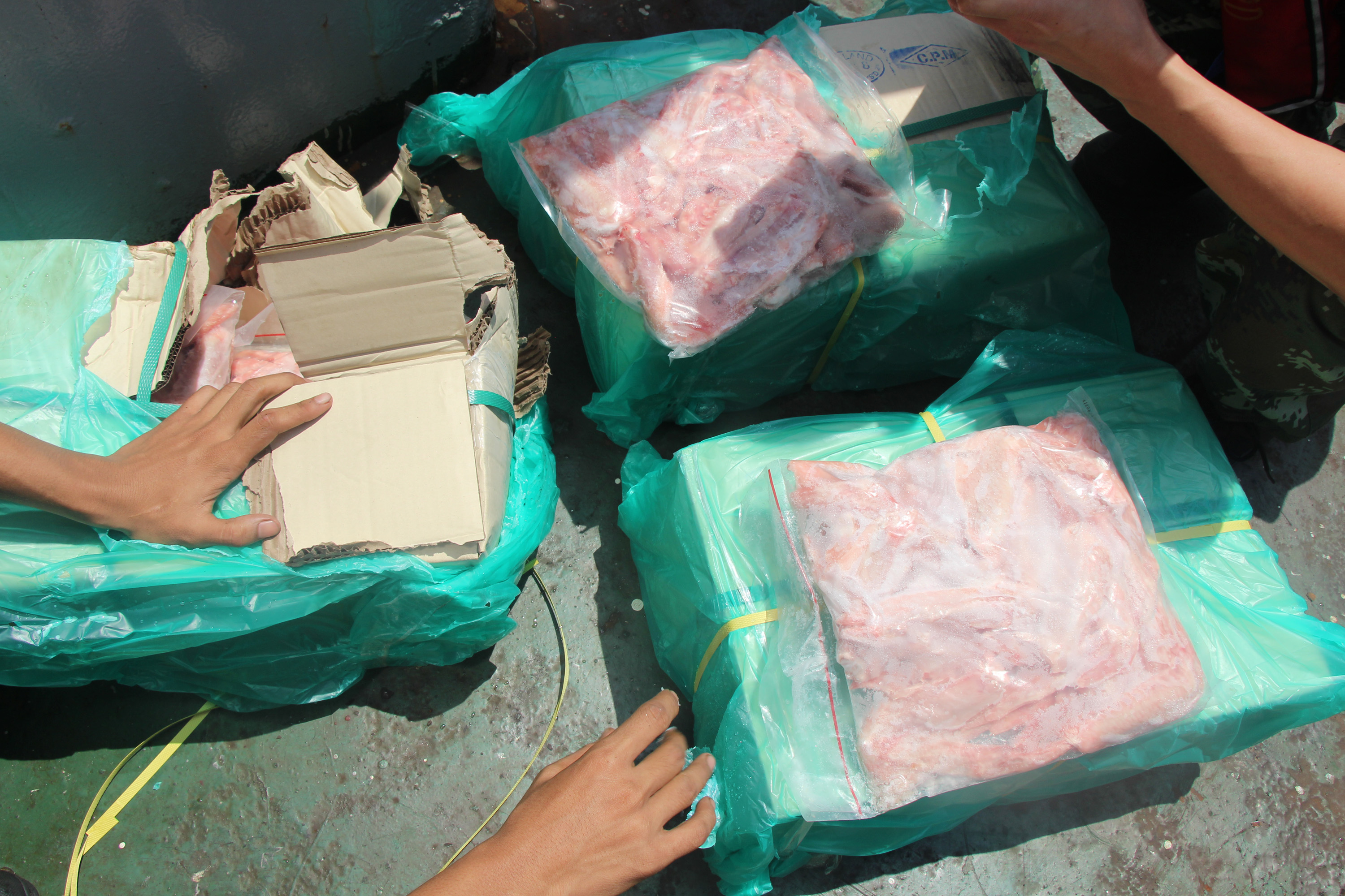Chinese police officers check cartons of smuggled meat seized during a raid on a boat in Shenzhen, in southern China's Guangdong province, on Sept. 16, 2016