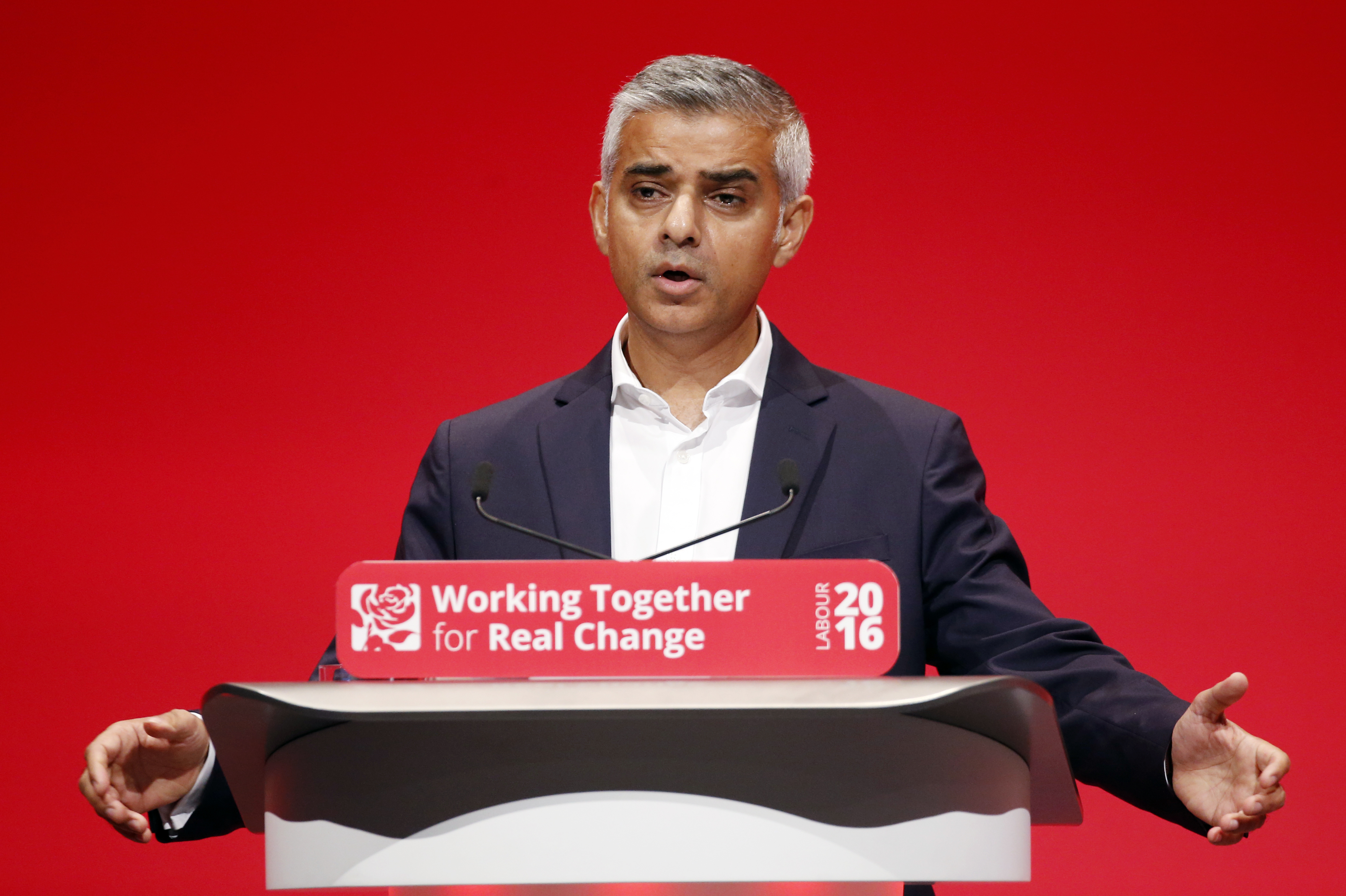 Mayor of London Sadiq Khan speaks during the Labour Autumn Conference at the ACC Liverpool