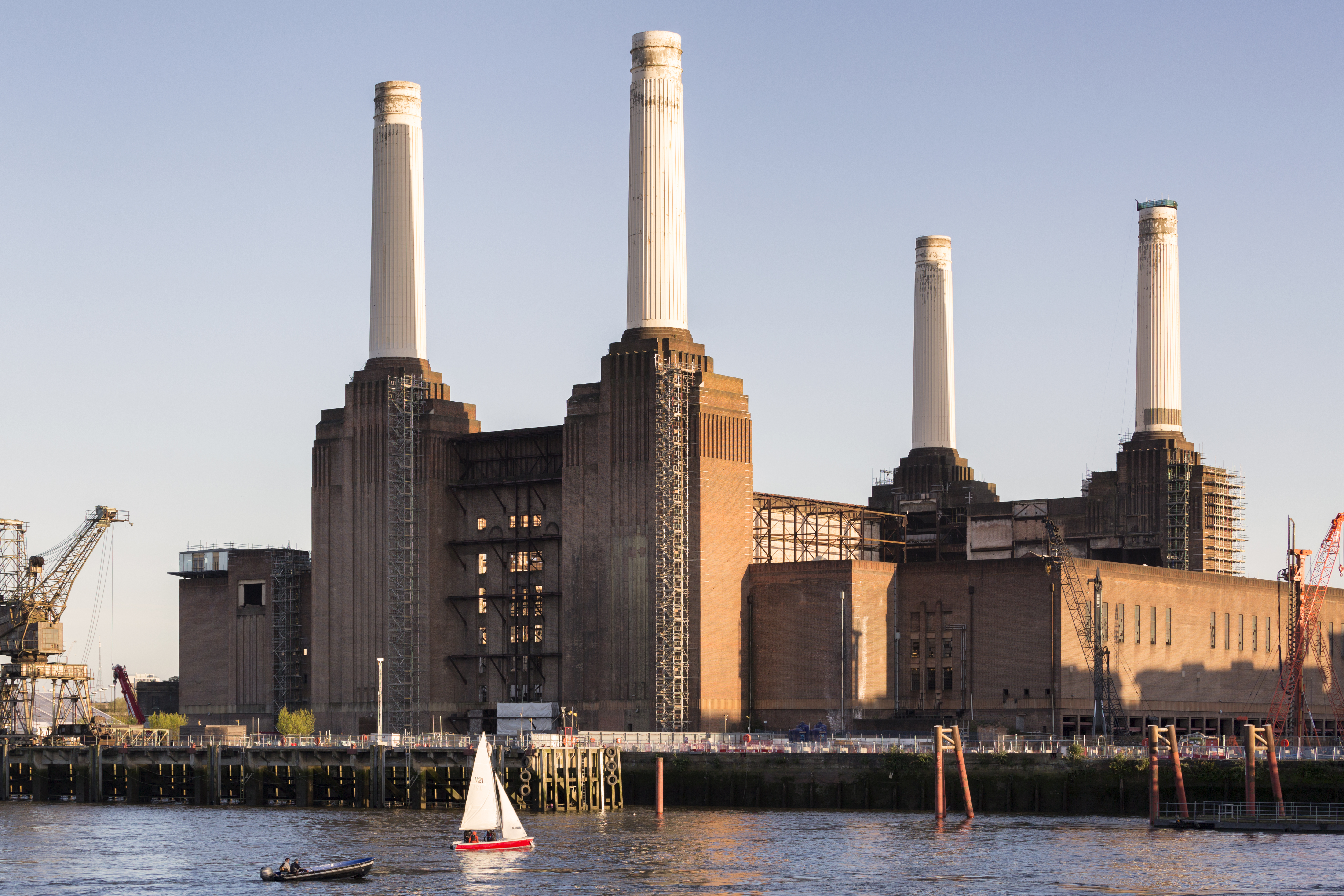 One of the biggest London Landmarks, the Battersea Power Station, viewed from across the Thames river.