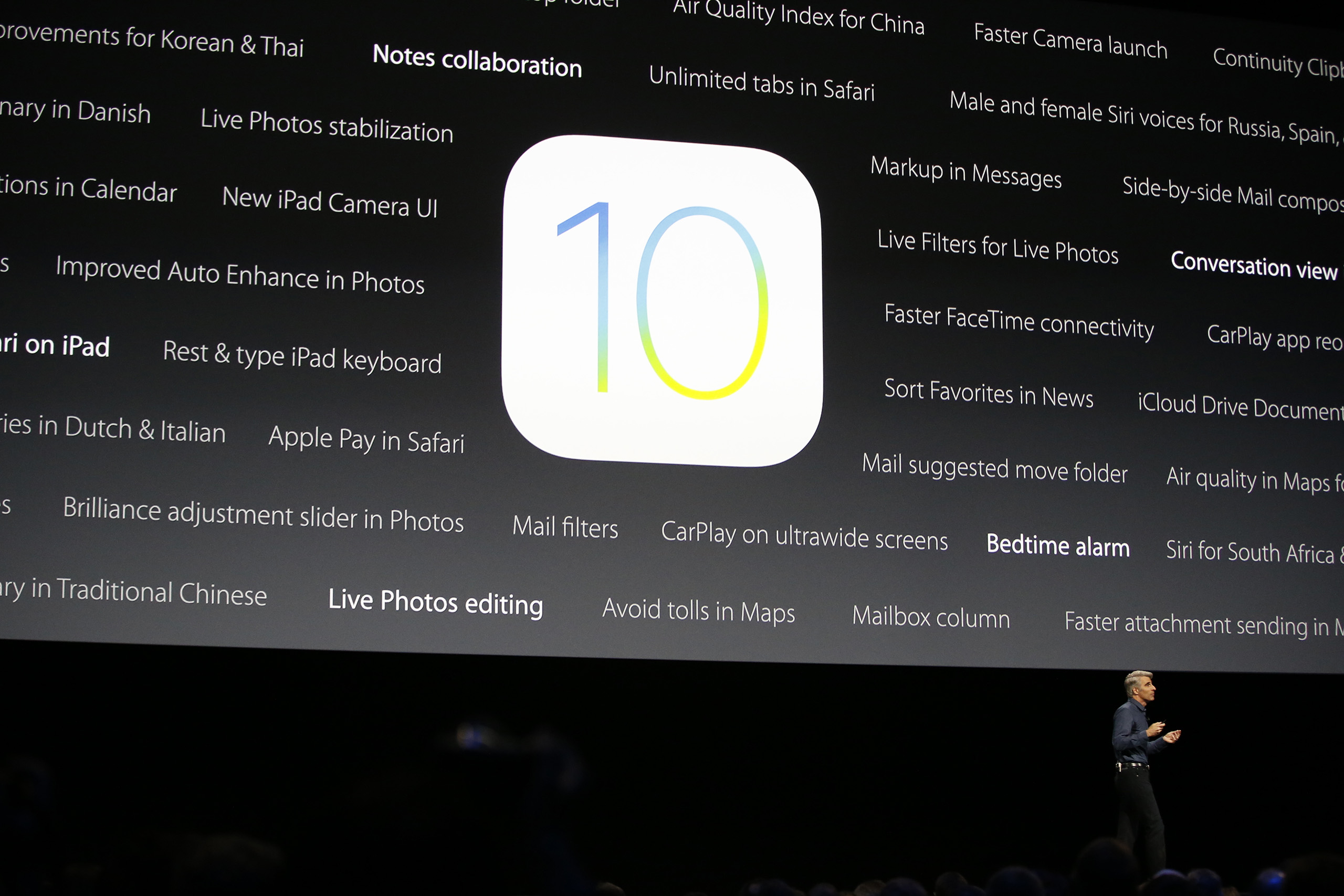Craig Federighi, Apple senior vice president of software engineering, speaks about the new iOS 10 at the Apple Worldwide Developers Conference in the Bill Graham Civic Auditorium in San Francisco, June 13, 2016.