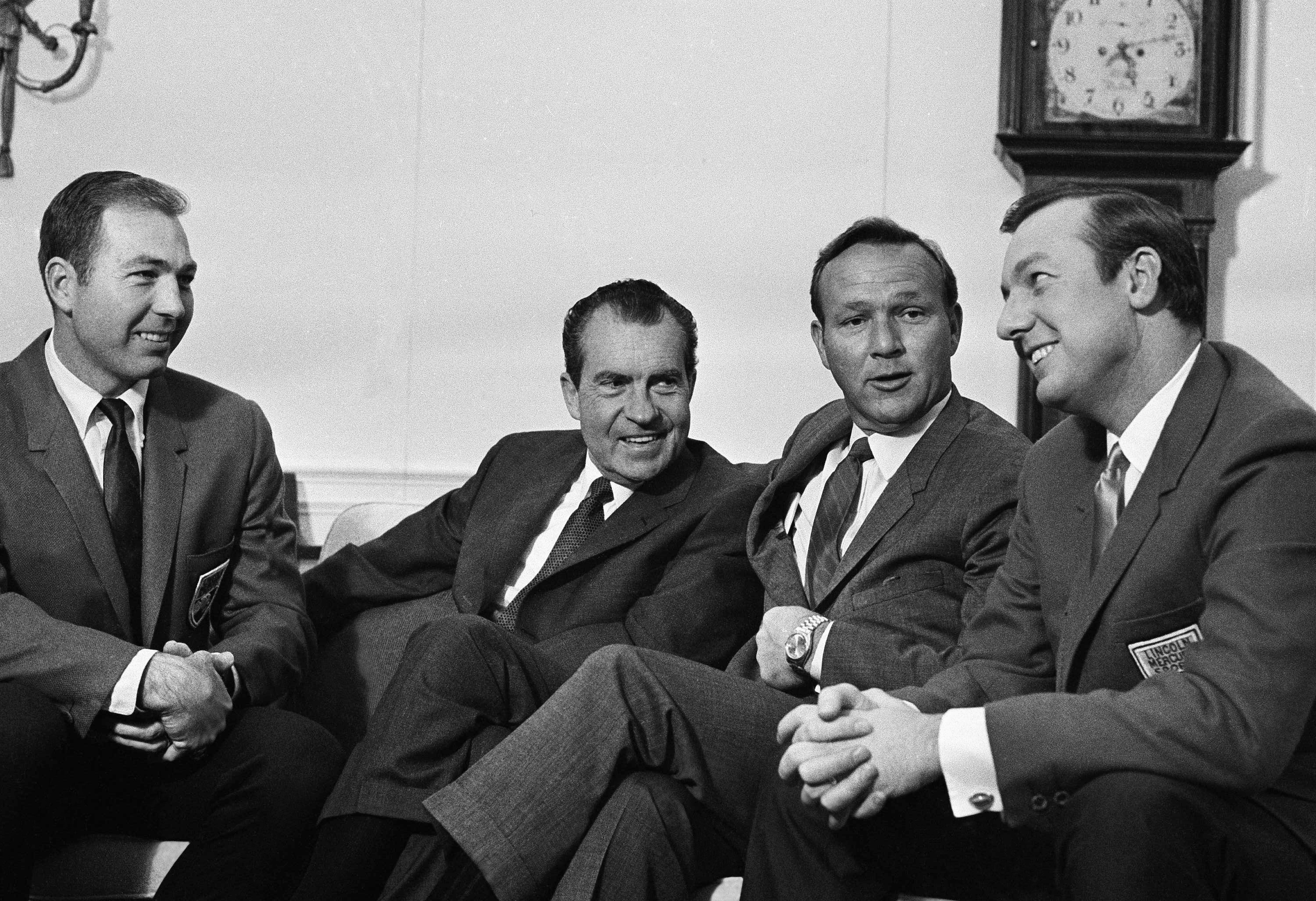President Richard Nixon poses in the White House with three stars of the sports world, Feb. 13, 1969 in Washington. His guests from left, were: Quarterback Bart Starr of the Green Bay Packers, Golfer Arnold Palmer and Al Kaline of the Detroit Tigers. The three were in Washington to attend a special sports program at the National Press Club.