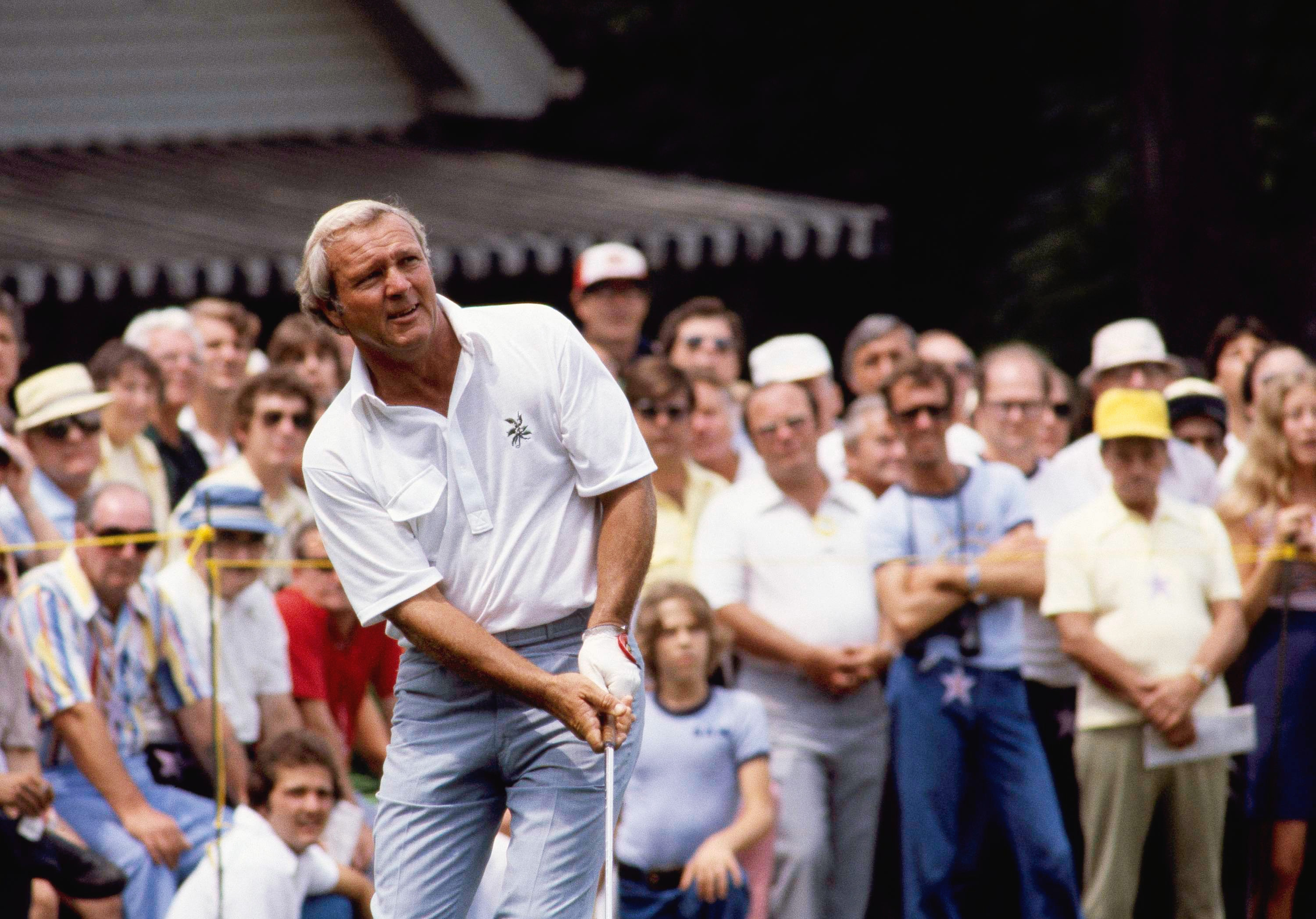Arnold Palmer in action in Westchester Classic at Harrison, N.Y., Aug. 1978.