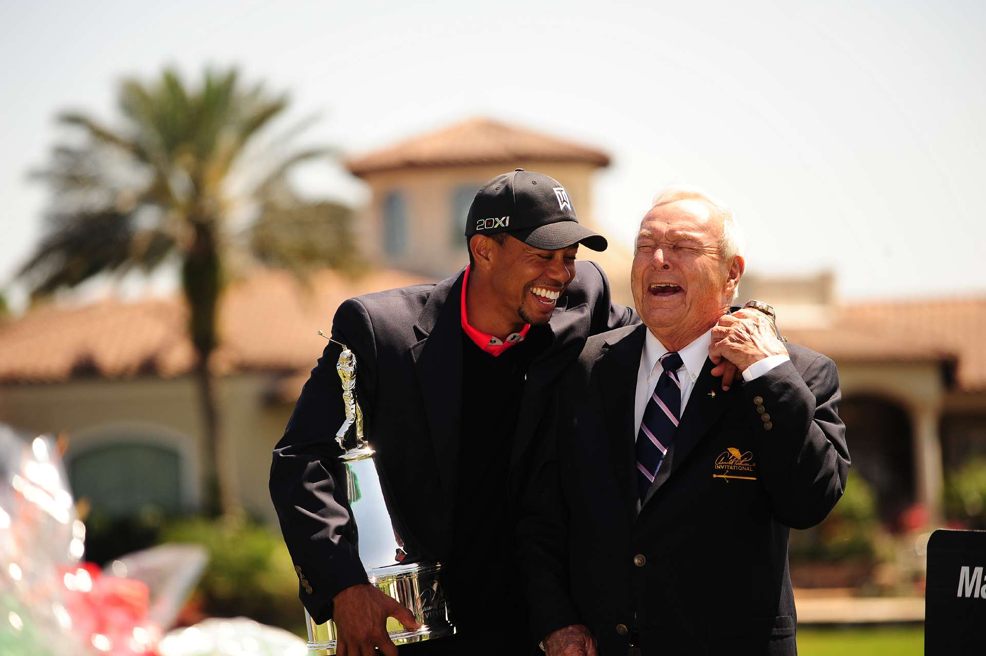 Tiger Woods and Arnold Palmer laughing during the Arnold Palmer Invitational                                   at Bay Hill Club and Lodge in Orlando, Fla on March 25, 2013.