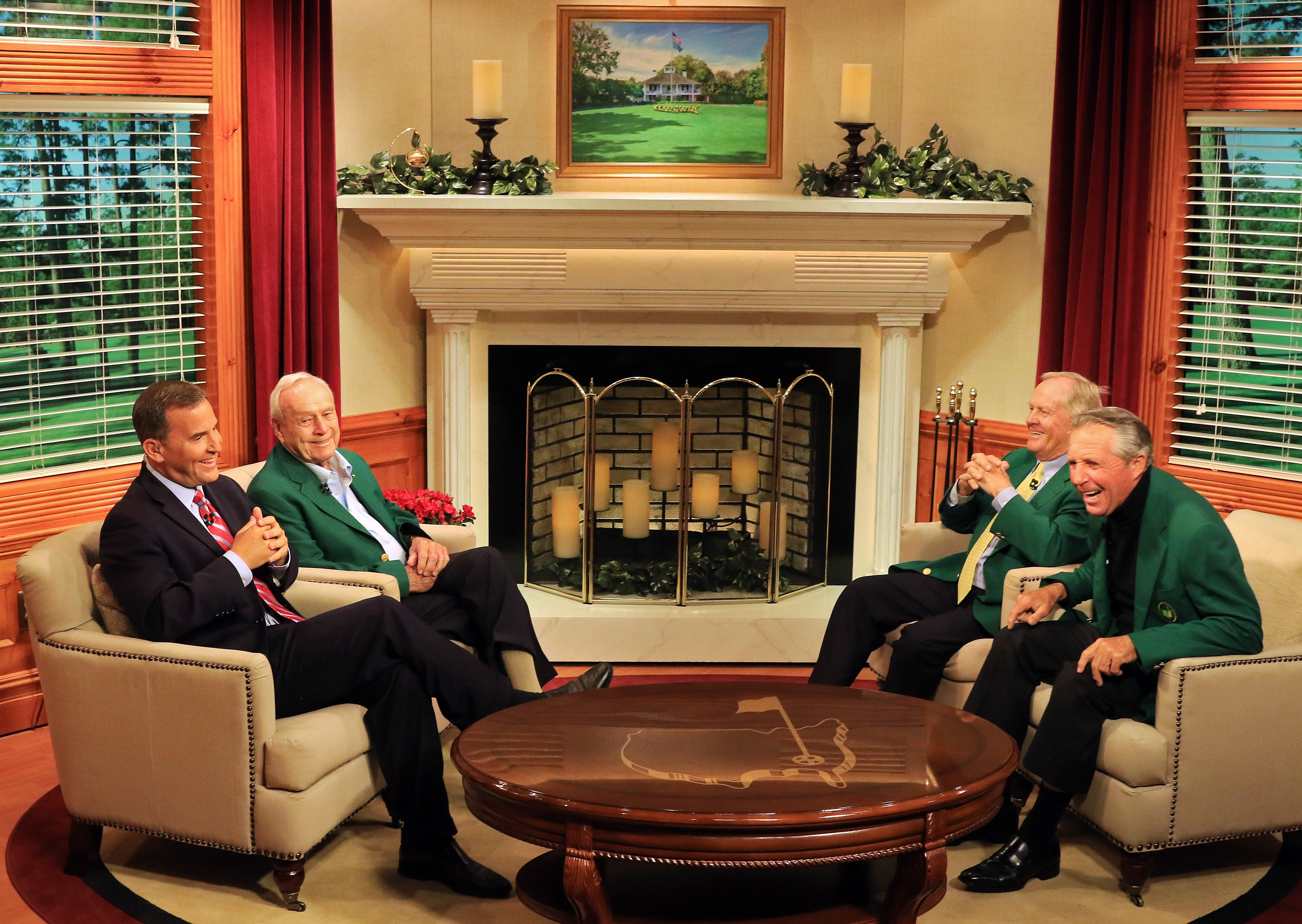 Steve Sands chats with  Masters champions Arnold Palmer, Jack Nicklaus and Gary Player of South Africa on the Golf Channel set prior to the start of the 2015 Masters Tournament at Augusta National Golf Club on April 8, 2015 in Augusta, Ga.