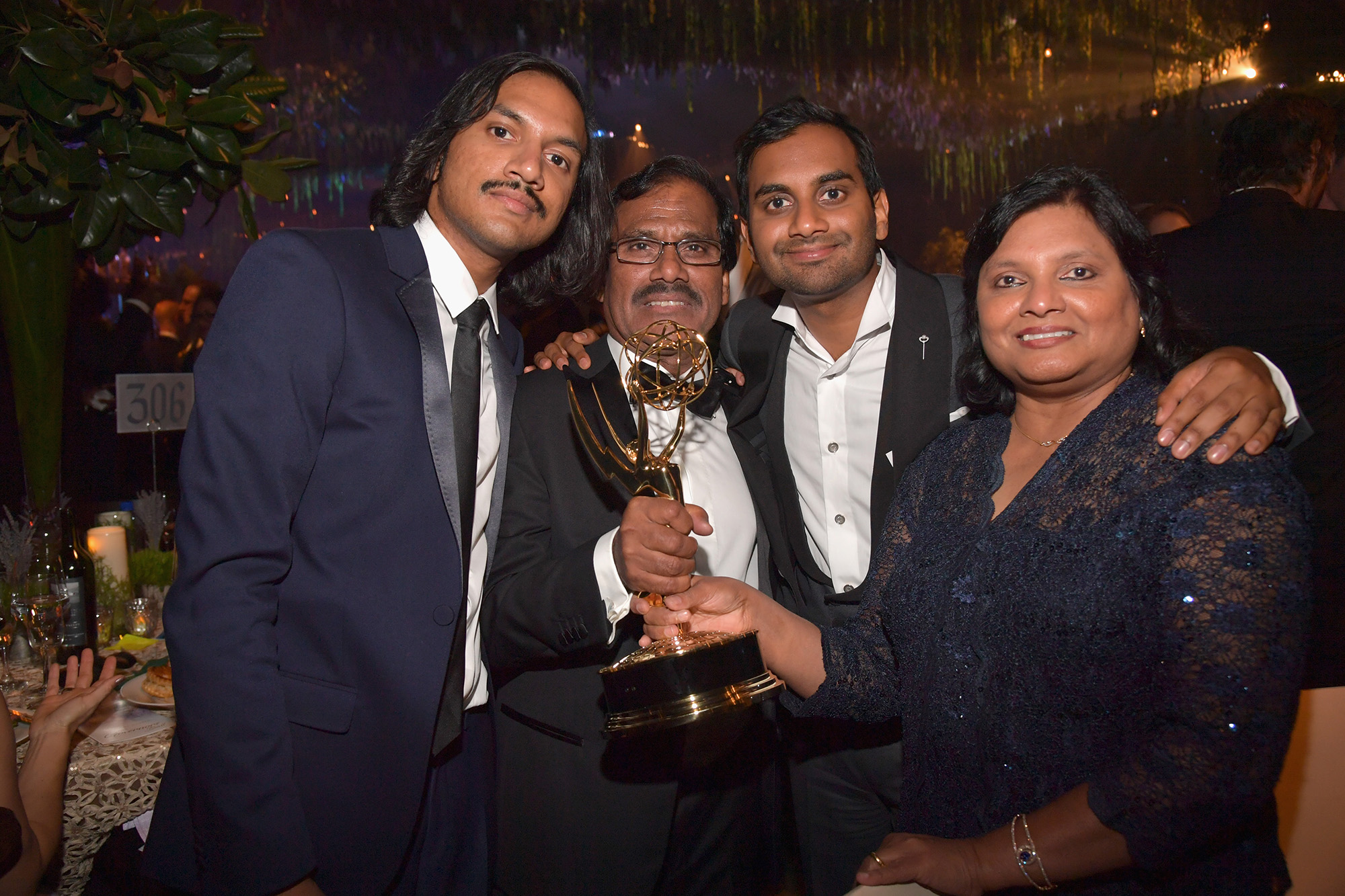 Actor/writer Aziz Ansari accompanied by his brother Aniz Ansari and parents Shoukath Ansari and Fatima Ansari, attends the 68th Annual Primetime Emmy Awards Governors Ball at Microsoft Theater on September 18, 2016 in Los Angeles, California.  (Photo by Lester Cohen/WireImage)
