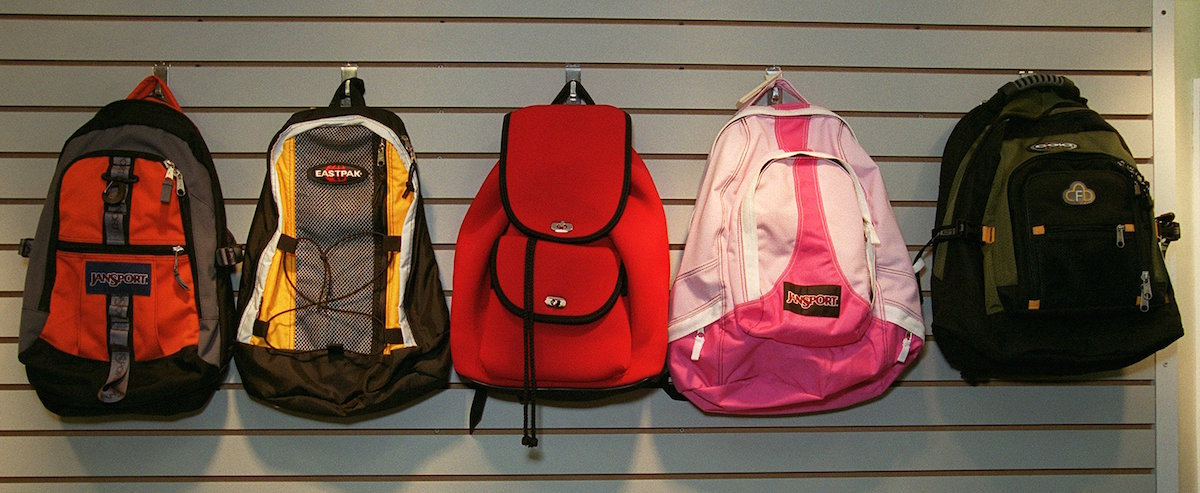 Backpacks photographed at the Boston University Bookstore in 2001