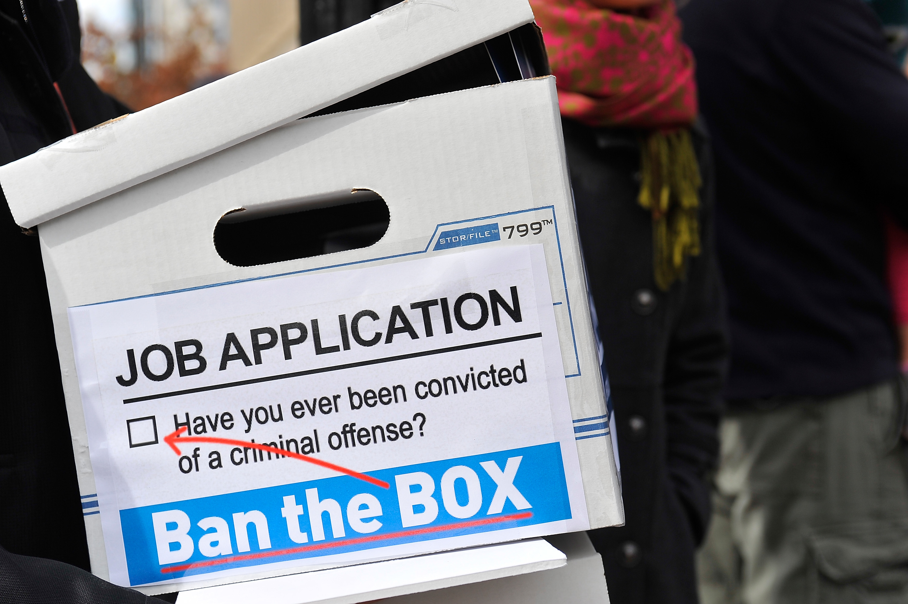 Outreach materials at a press conference for the Ban The Box Petition Delivery to The White House in Washington, D.C., on Oct. 26, 2015.