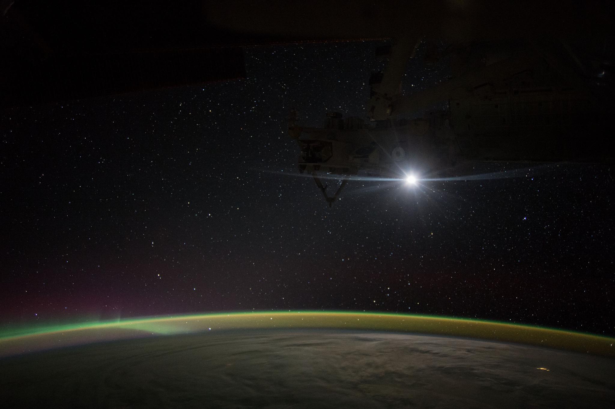 Moonrise on the International Space Station, taken by NASA astronaut Kate Rubins.