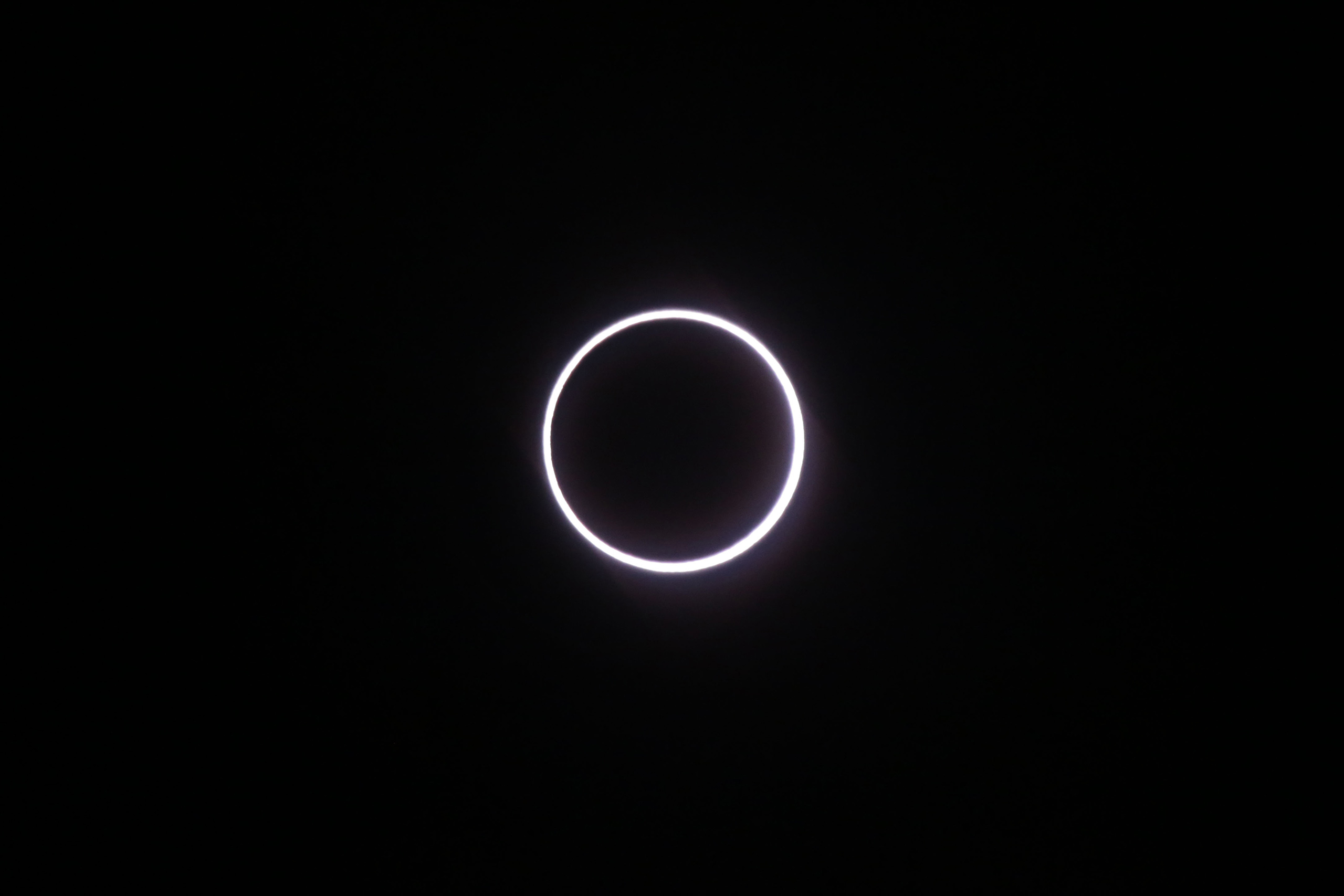 The moon covers the sun, leaving a ring of fire effect around the moon, during an annular solar eclipse, seen in Saint-Louis, on the Indian Ocean island of La Reunion, on Sept. 1, 2016.