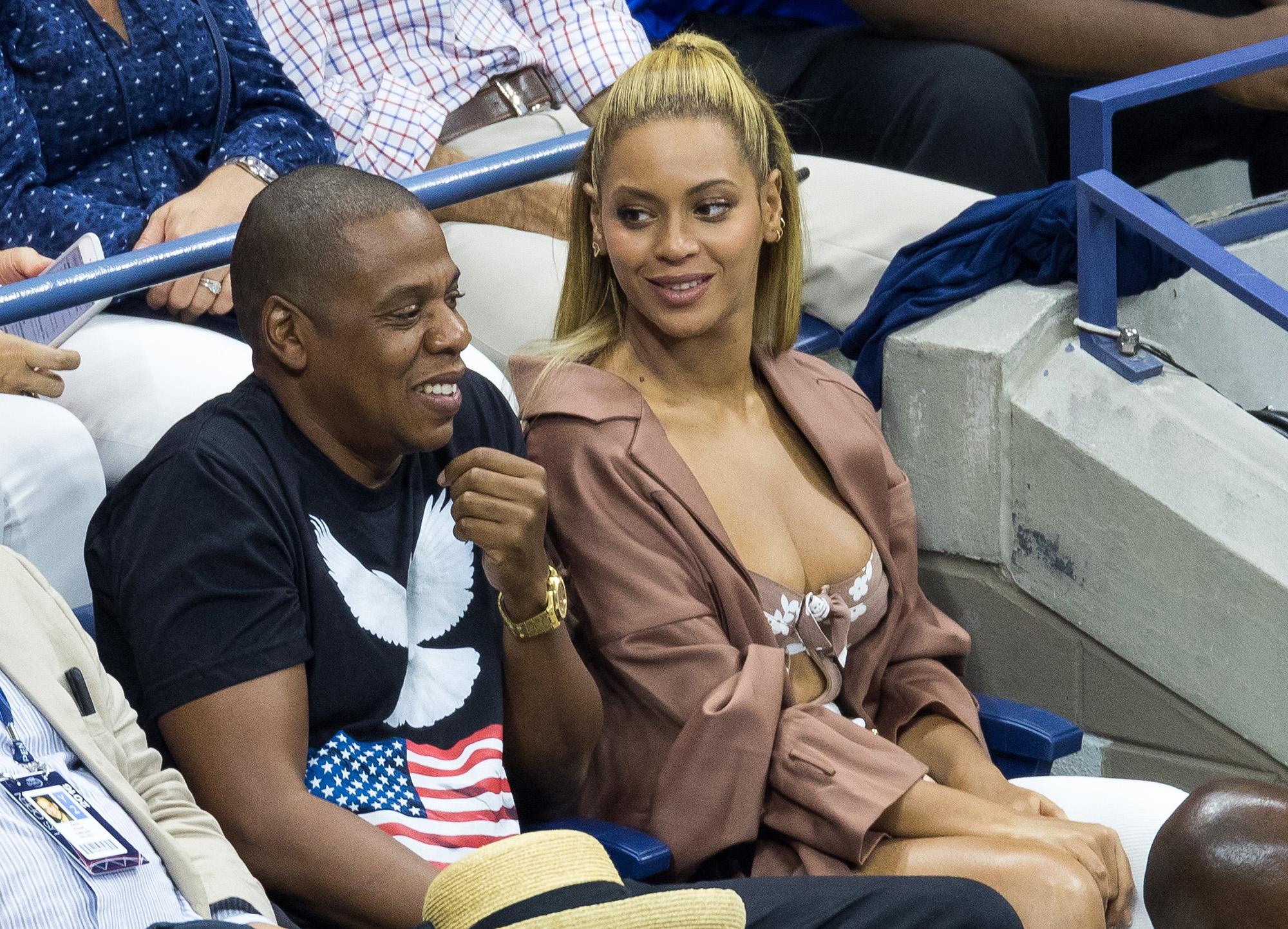 Beyonce and Jay Z at USTA Billie Jean King National Tennis Center on September 1, 2016 in the Queens borough of New York City.  (Photo by Team GT/GC Images)