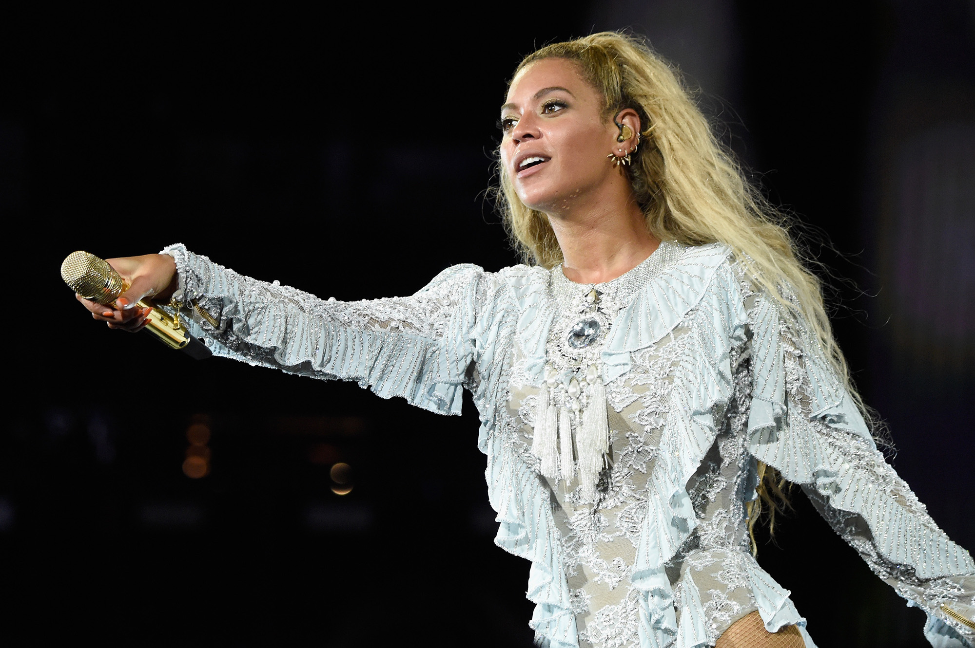 Beyonce performs on stage during  The Formation World Tour  at Levi's Stadium on September 17, 2016 in Santa Clara, California.  (Photo by Kevin Mazur/WireImage)
