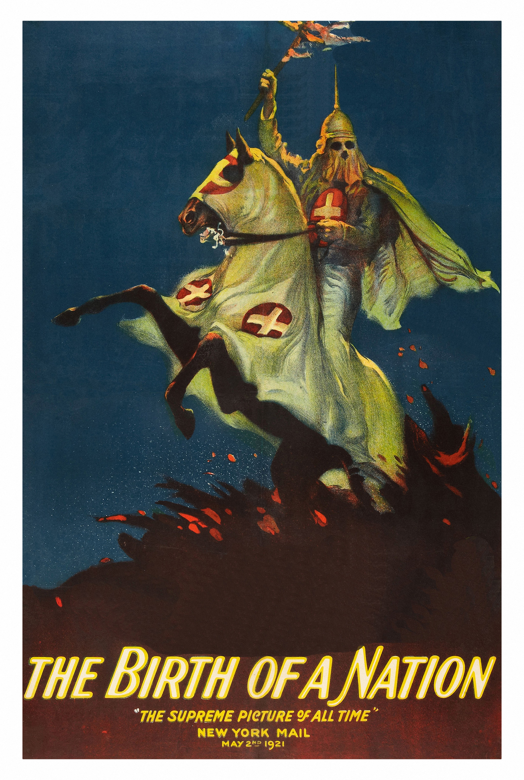 Ku Klux Klan on a poster that advertises the Griffith movie 'The Birth of a Nation,' 1915.