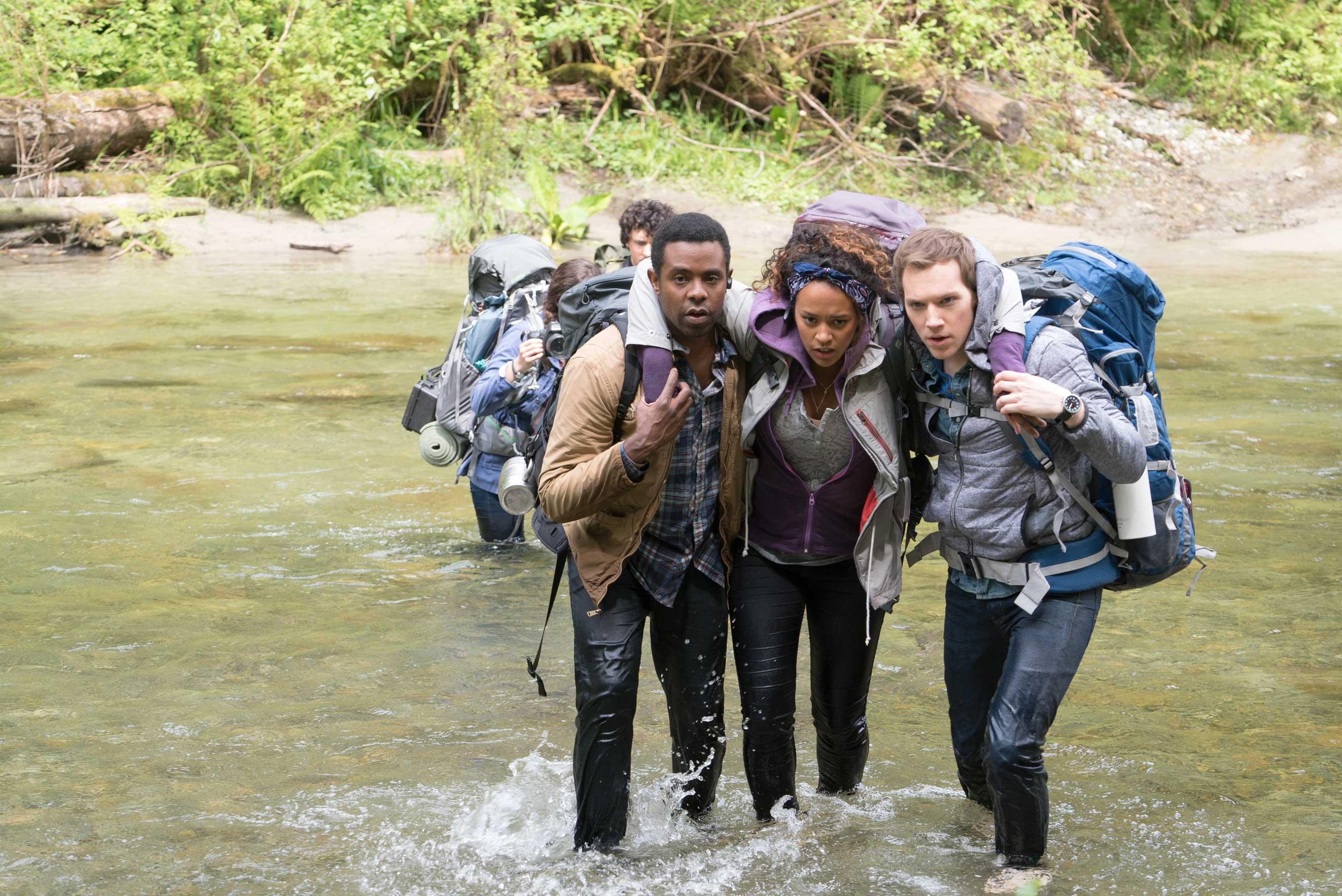 Peter (Brandon Scott, left), Ashley (Corbin Reid, center) and James (James Allen McCune, right) in BLAIR WITCH.