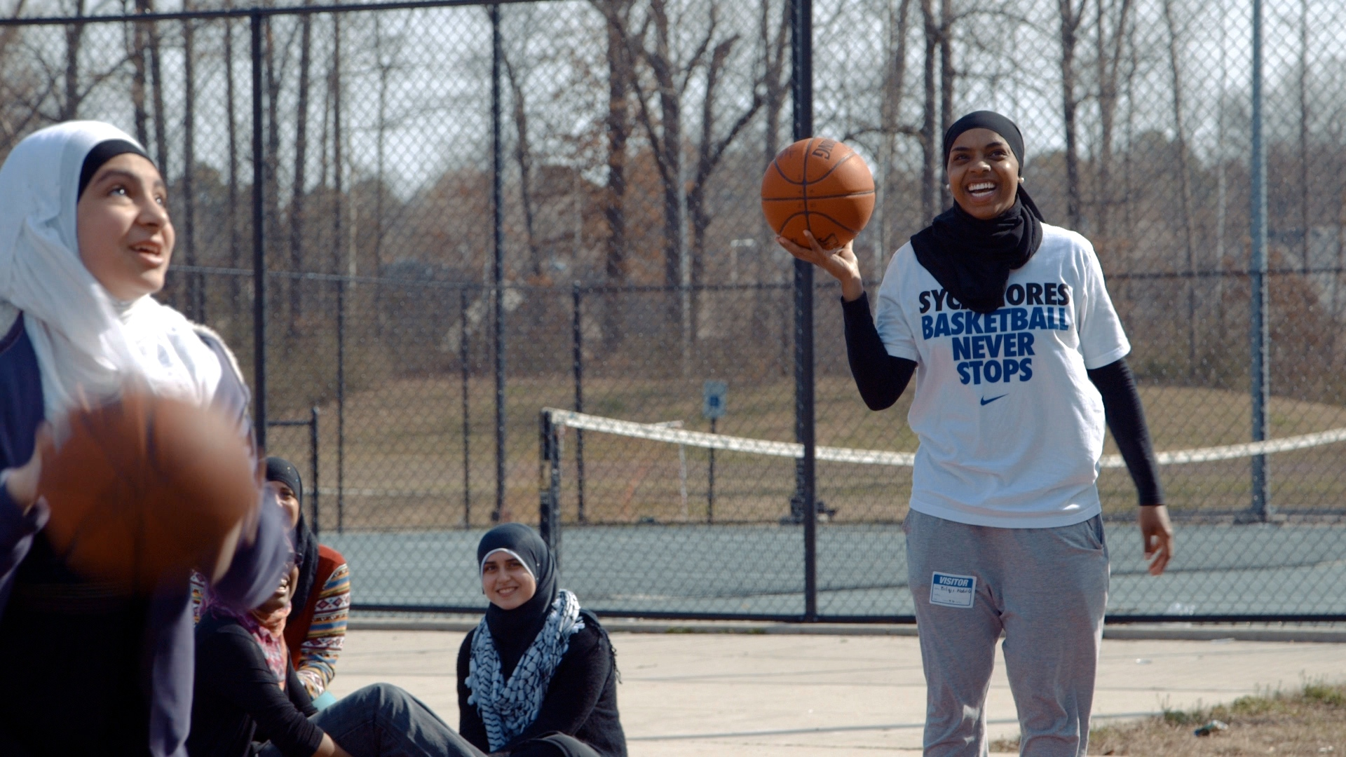 Bilqis Abdul-Qaadir on the set of the documentary about her career, titled  Life Without Basketball.