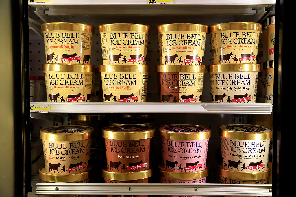 OVERLAND PARK, KS - APRIL 21:  Blue Bell Ice Cream is seen on shelves of an Overland Park grocery store prior to being removed on April 21, 2015 in Overland Park, Kansas. Blue Bell Creameries recalled all products following a Listeria contamination.