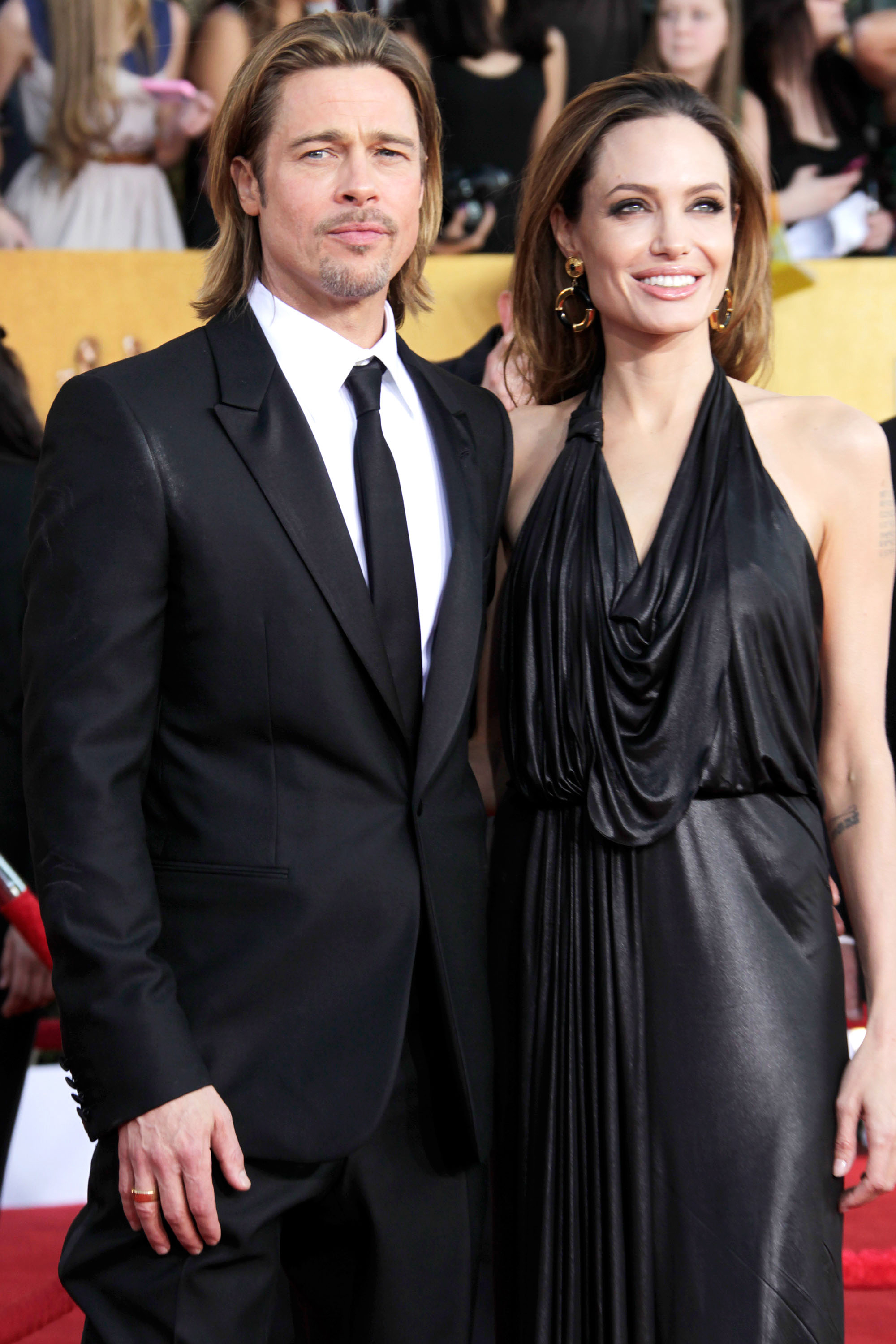 Brad Pitt and Angelina Jolie arrive at the 18th Annual Screen Actors Guild Awards on Jan. 29, 2012 in Los Angeles.