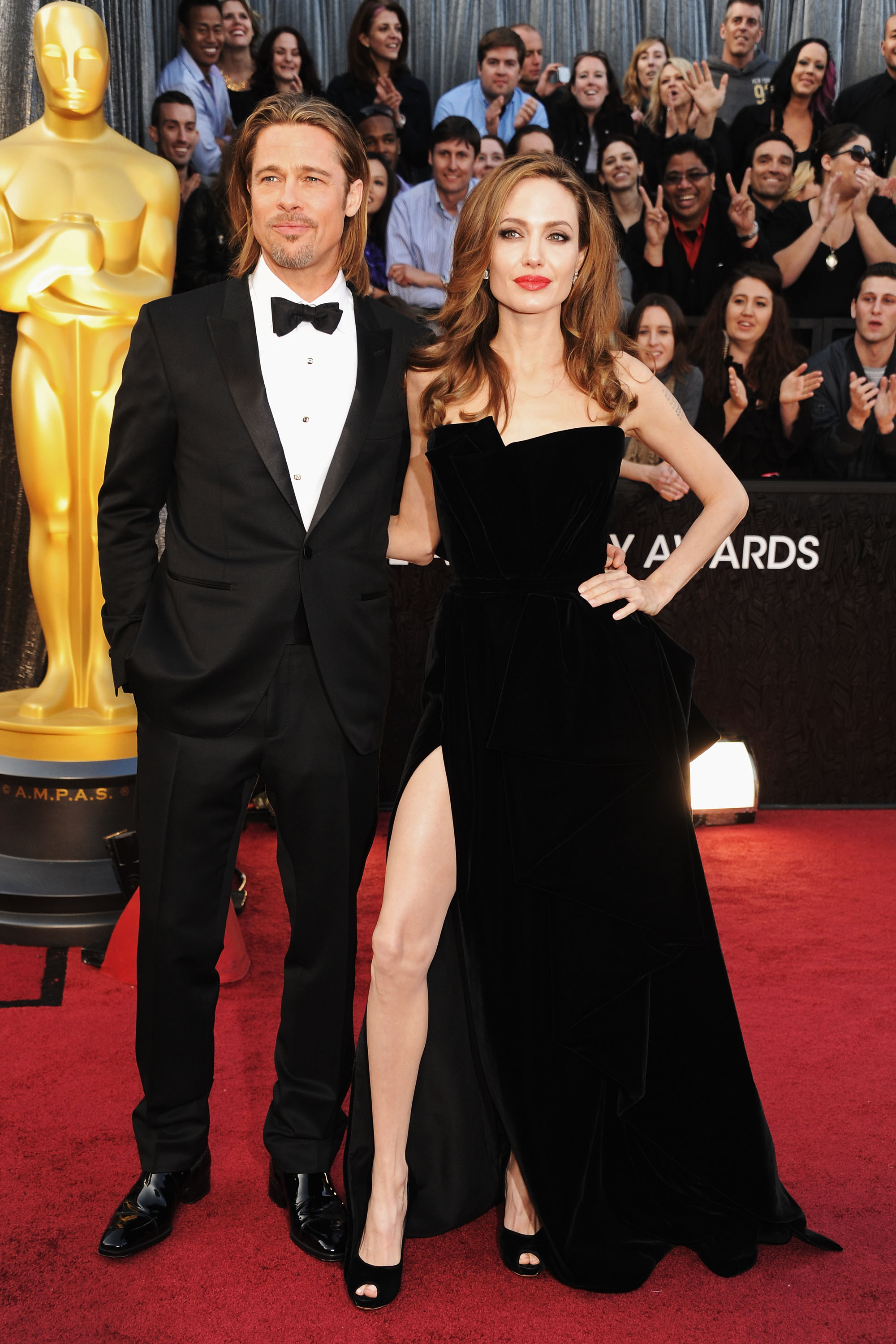 Brad Pitt and Angelina Jolie arrive at the 84th Annual Academy Awards on Feb. 26, 2012 in Hollywood, Calif.