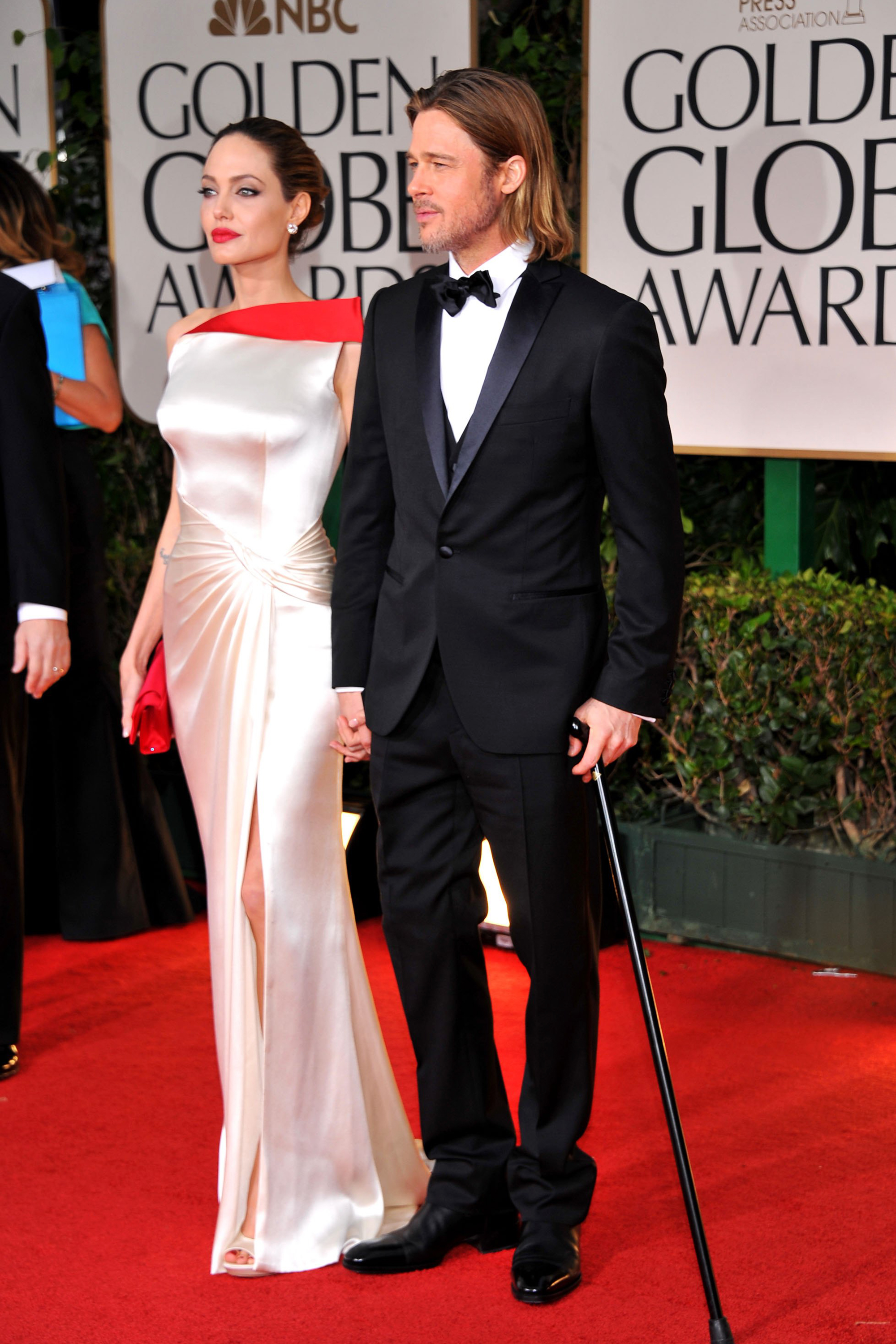 Angelina Jolie and Brad Pitt arrive at the 69th Annual Golden Globe Awards held on Jan. 15, 2012 in Beverly Hills, Calif.