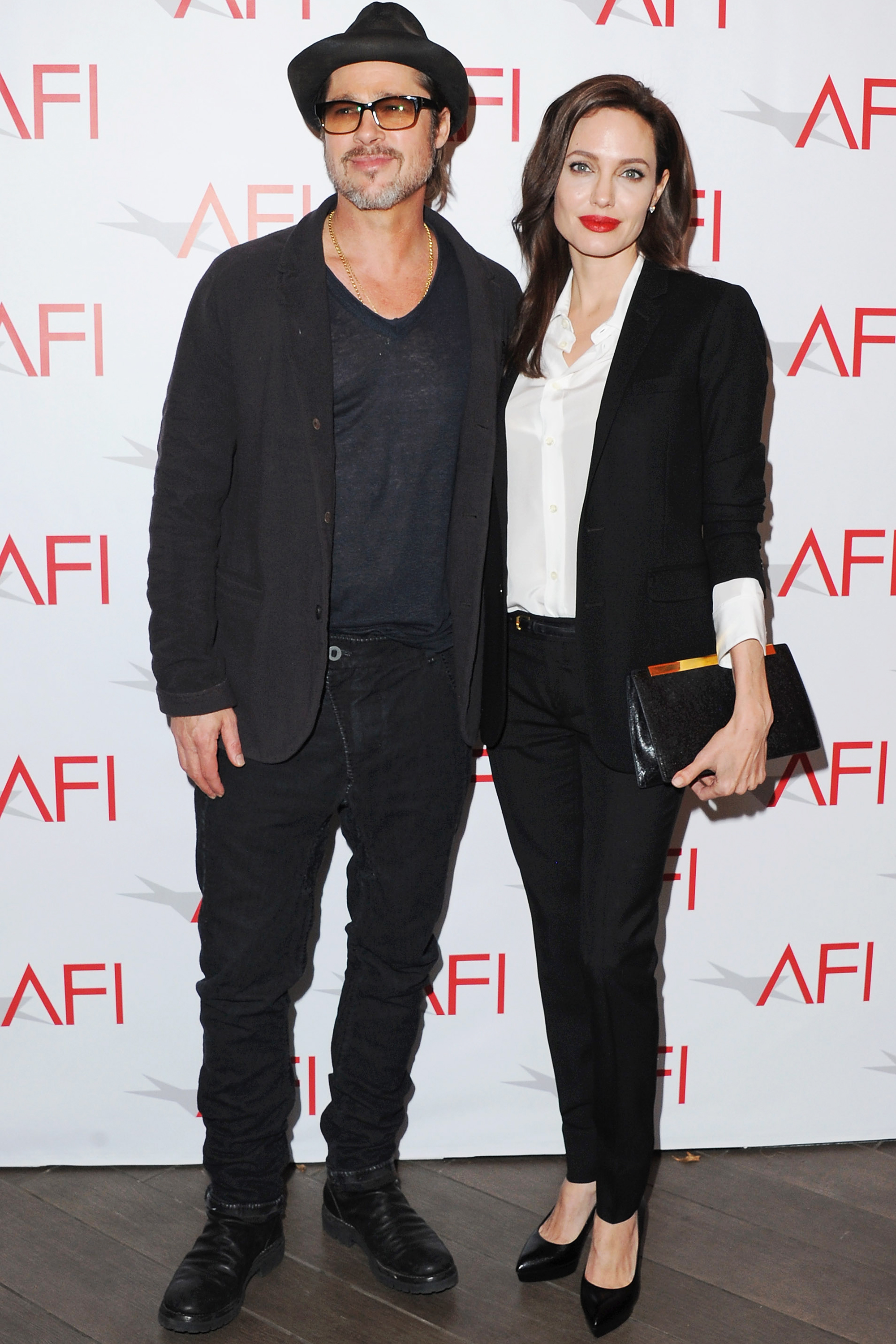 Brad Pitt and Angelina Jolie arrive at the 15th Annual AFI Awards on Jan. 9, 2015 in Beverly Hills, Calif.