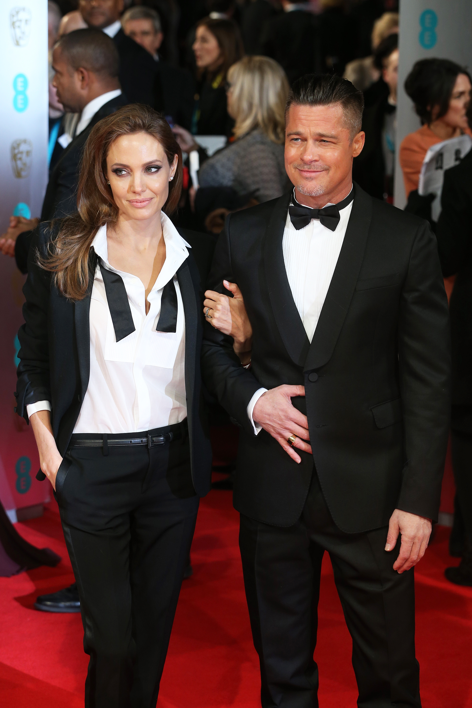 Angelina Jolie and Brad Pitt  at the British Film Awards on Feb. 16, 2014 in London.