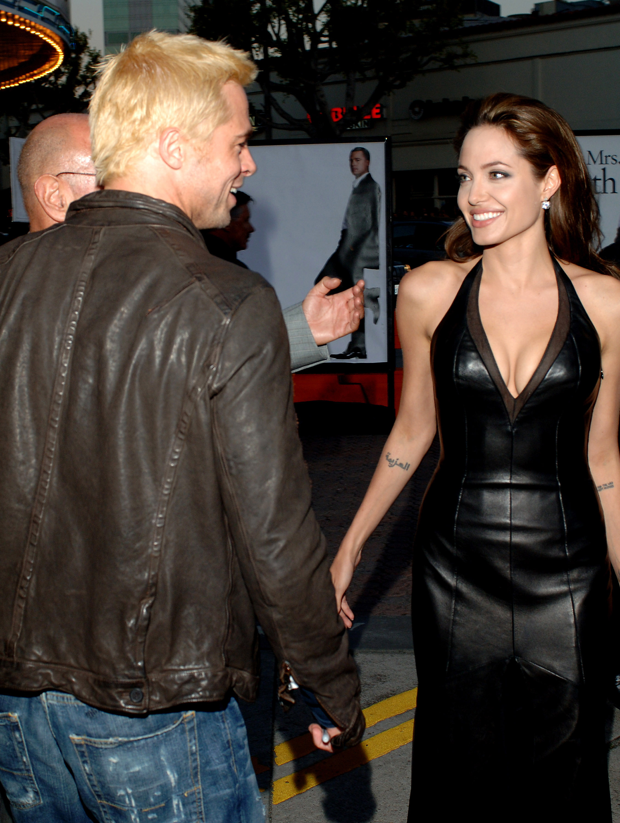 Brad Pitt and Angelina Jolie at the Mr. And Mrs. Smith Los Angeles premiere, on June 7, 2005.