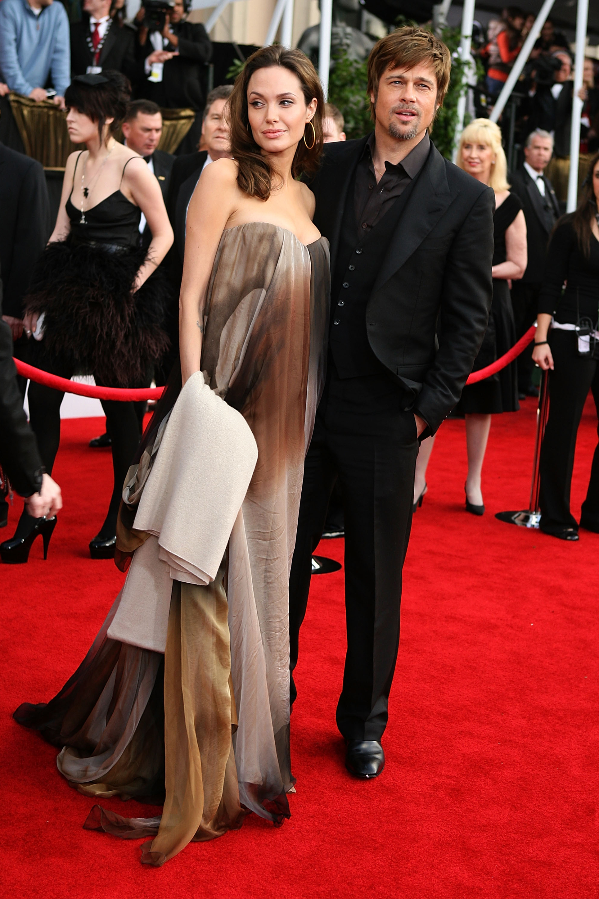 Angelina Jolie and Brad Pitt arrive at the 14th annual Screen Actors Guild awards on Jan. 27, 2008 in Los Angeles.