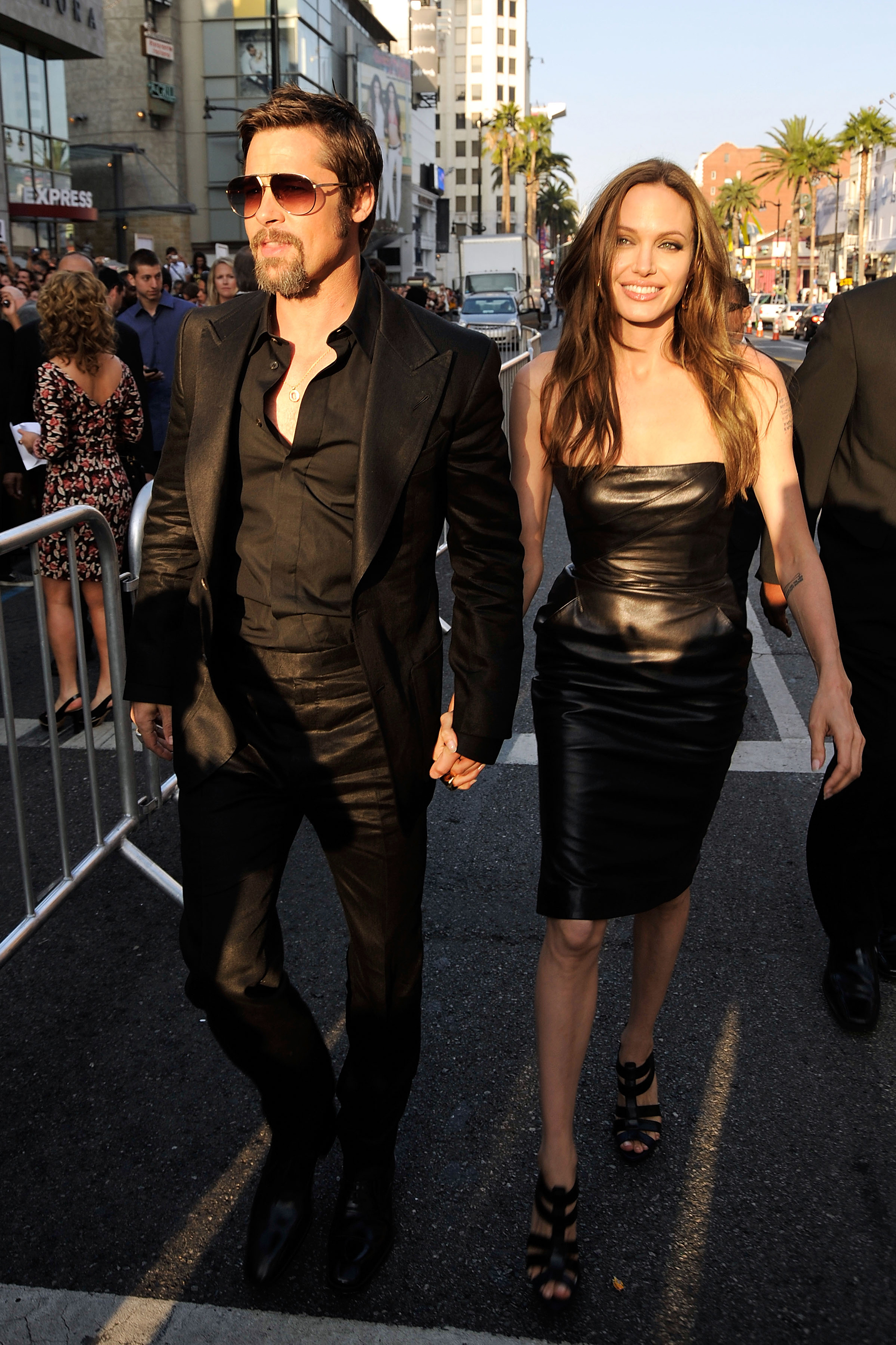 Brad Pitt and Angelina Jolie arrive at the premiere of Inglourious Basterds on Aug. 10, 2009 in Hollywood, Calif.