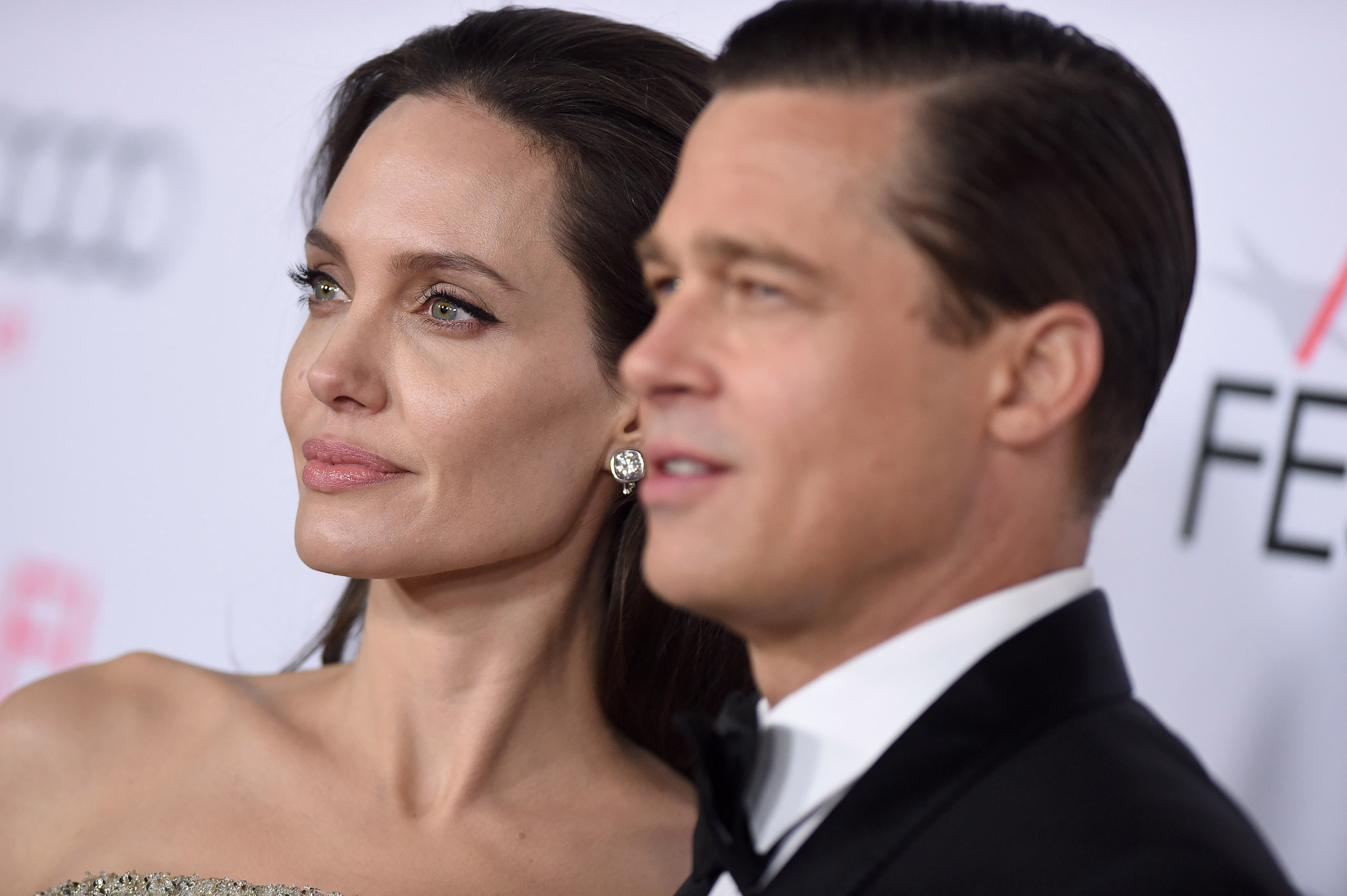 Angelina Jolie and Brad Pitt arrive at the AFI FEST 2015 Opening Night Gala Premiere of Universal Pictures' 'By The Sea' in Hollywood, Calif. on Nov. 5, 2015.