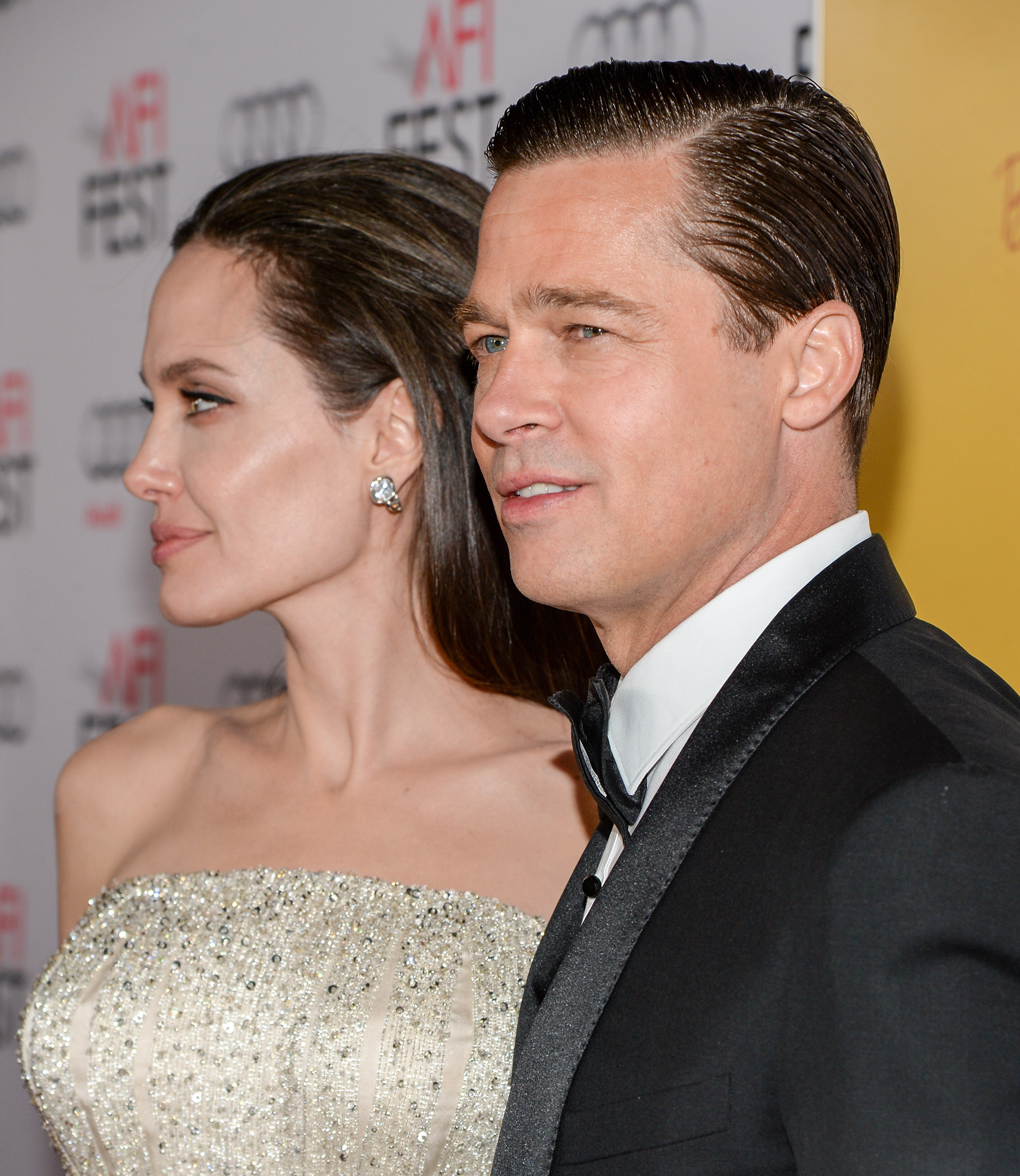 Angelina Jolie and Brad Pitt at the TCL Chinese 6 Theatres on Nov. 5, 2015 in Hollywood.