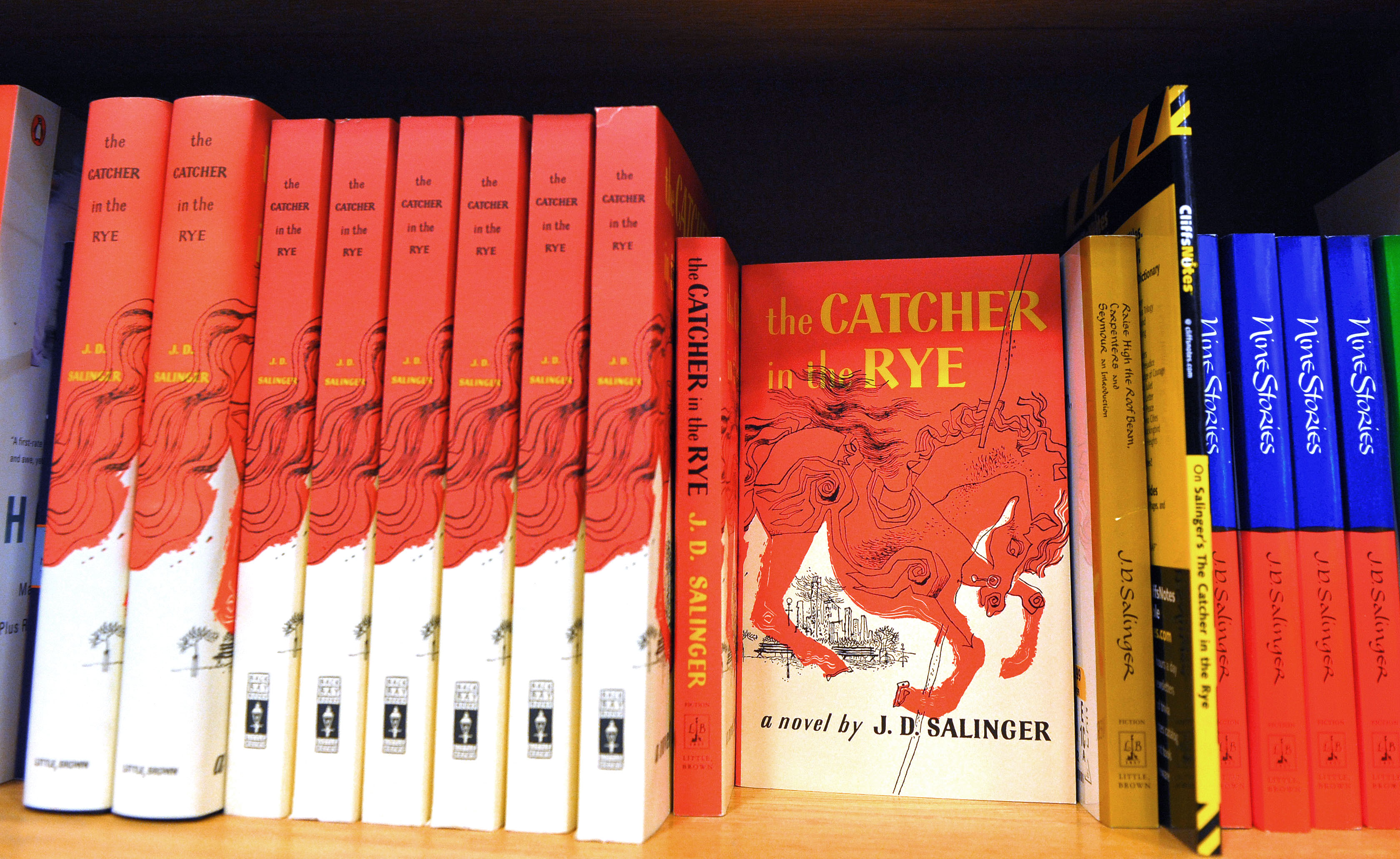 A January 28, 2010 photo shows a copies of  The Catcher in the Rye  by author J.D. Salinger at a bookstore in Washington, DC.