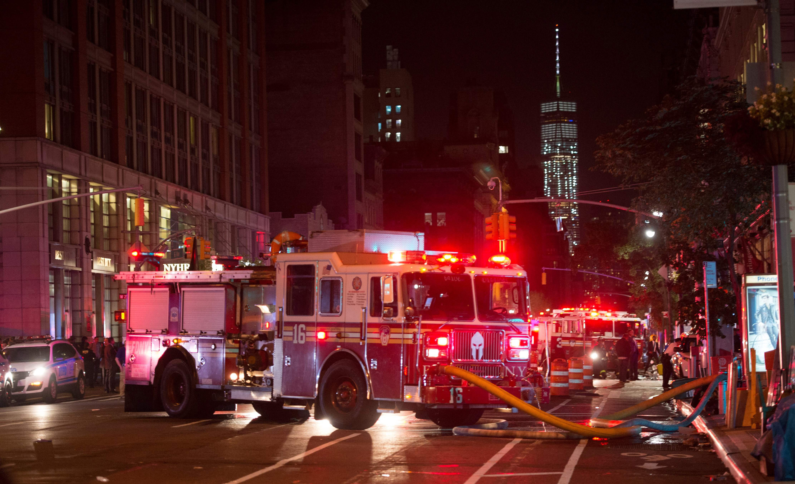 A fire truck is seen near a blocked off road near the site of an alleged bomb explosion on West 23rd Street in New York on Sept. 17, 2016.
