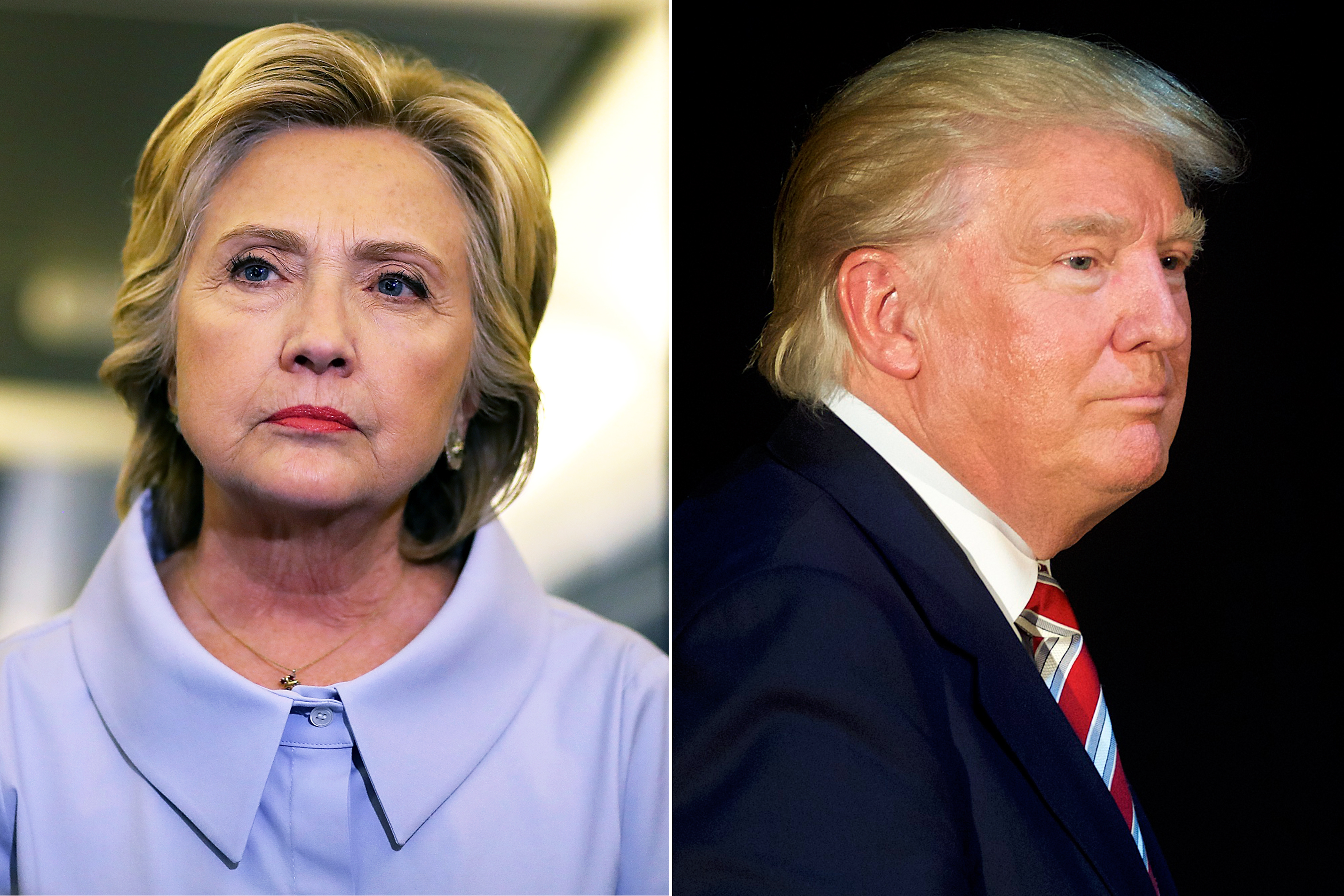 Hillary Clinton in Iowa. on Sept. 5, 2016 (L); Donald Trump in Aston, PA, on Sept. 13, 2016.
