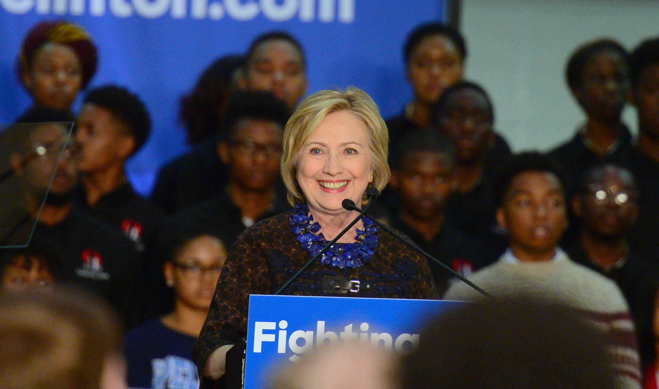 Hillary Clinton Speaks to Supporters during the  African Americans for Hillary Grassroots Organizing Meeting with Hillary Clinton  in Atlanta, GA, on Oct. 30, 2015.