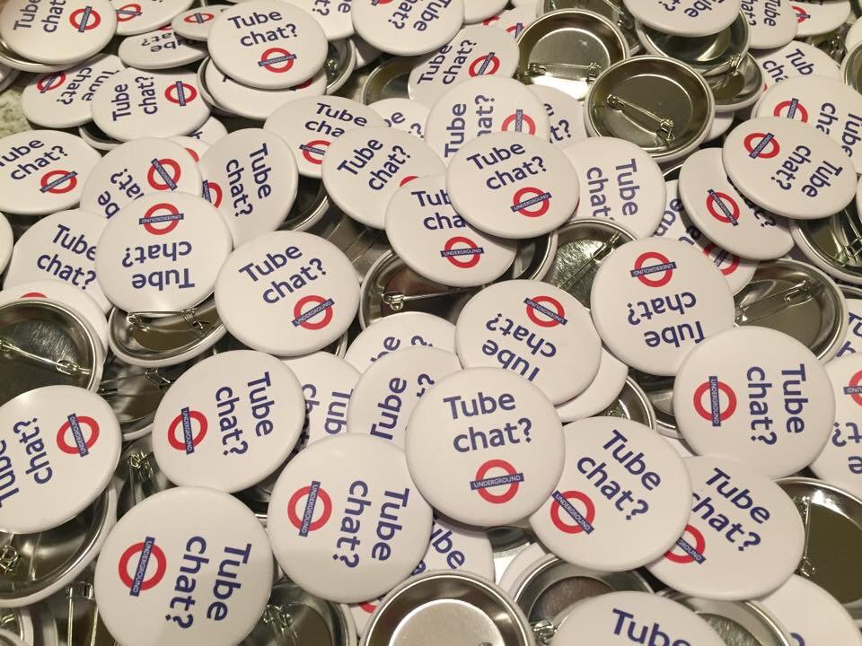 Jonathan Dunne, who moved to London from Colorado in 1997, created 'Tube Chat' badges and gave them out in London Underground stations to encourage commuters to talk to each other