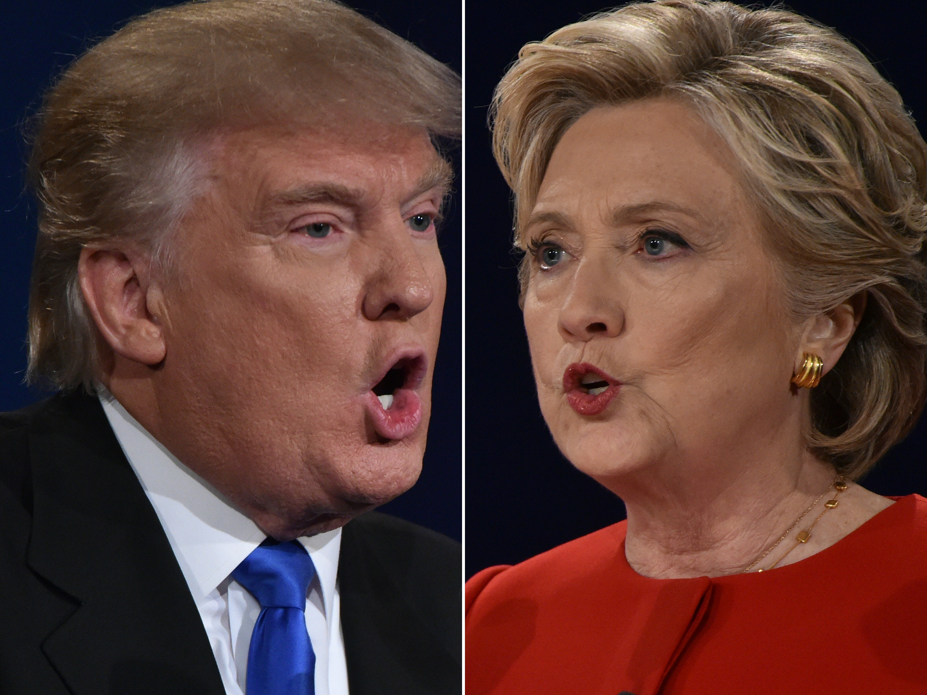 Republican nominee Donald Trump and Democratic nominee Hillary Clinton face off during the first presidential debate at Hofstra University in Hempstead, N.Y., on Sept. 26, 2016.