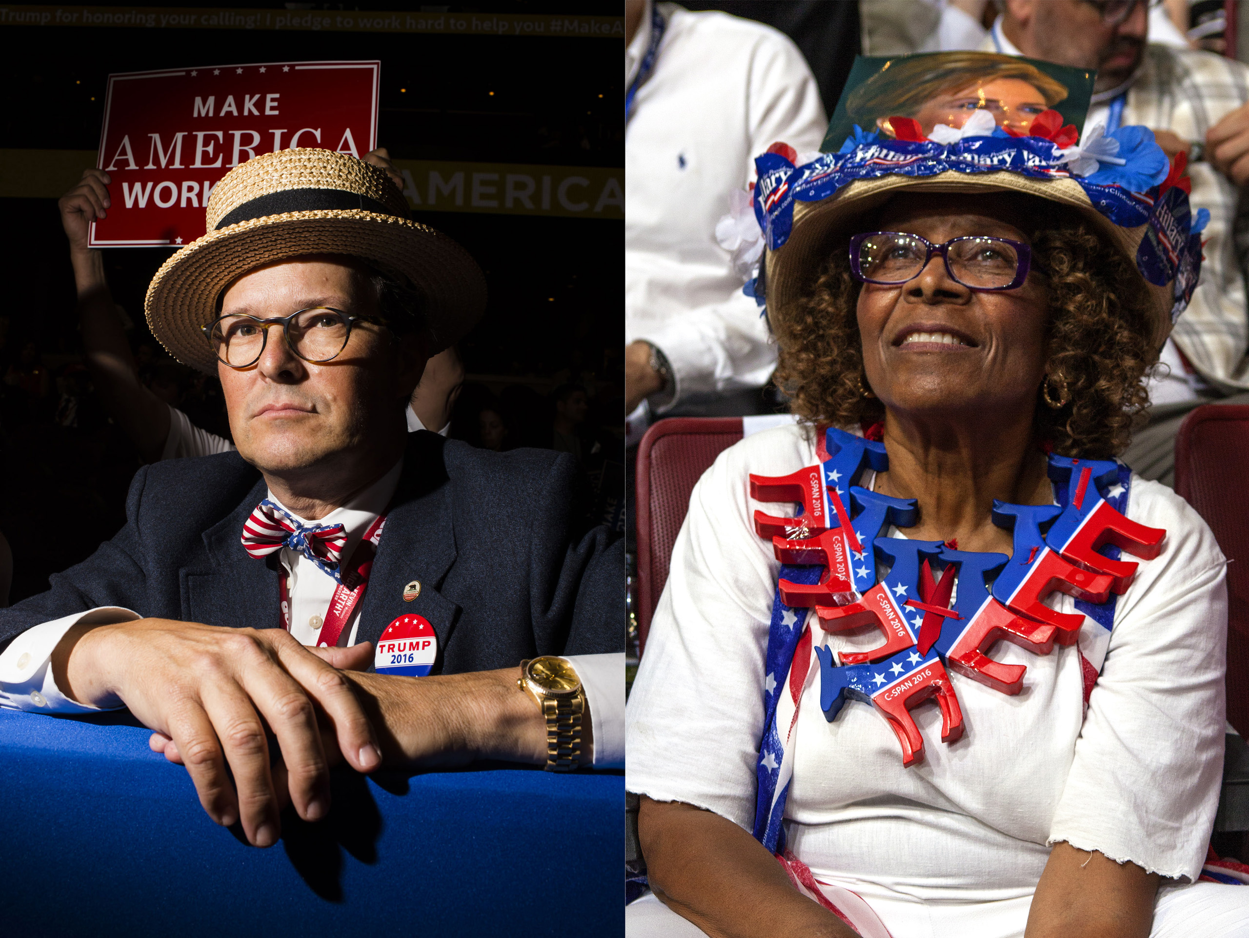 A delegate from the Republican National Convention, right, a delegate from the Democratic National Convention, left.