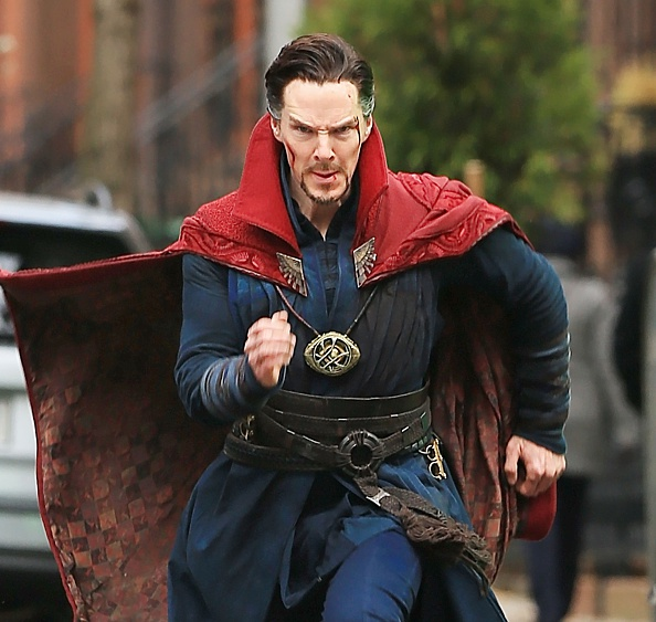 Actor Benedict Cumberbatch is seen on the set of 'Doctor Strange' on April 2, 2016 in New York City.
