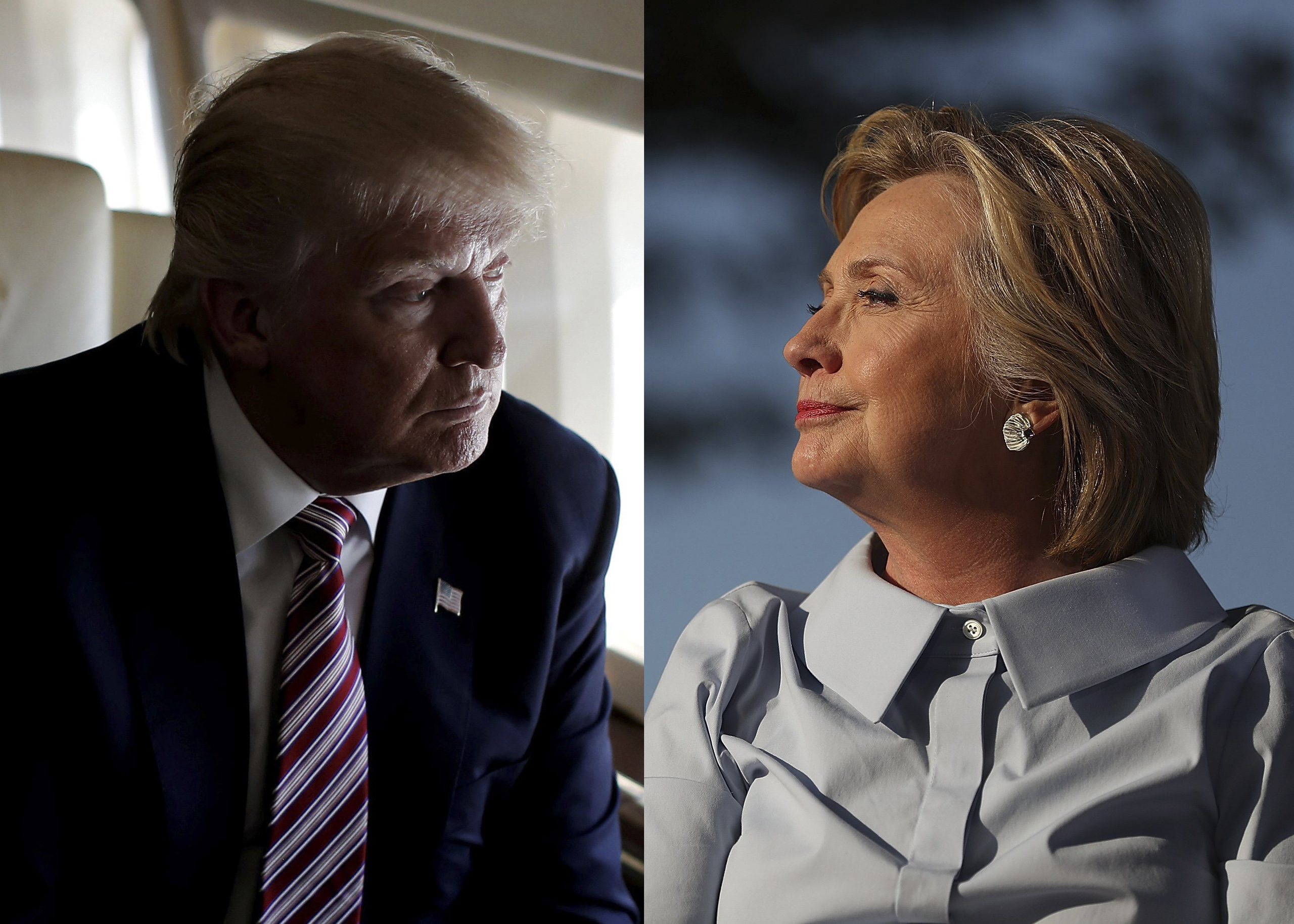 Republican Presidential Nominee Donald Trump, left and Democratic Presidential Nominee Hillary Clinton.