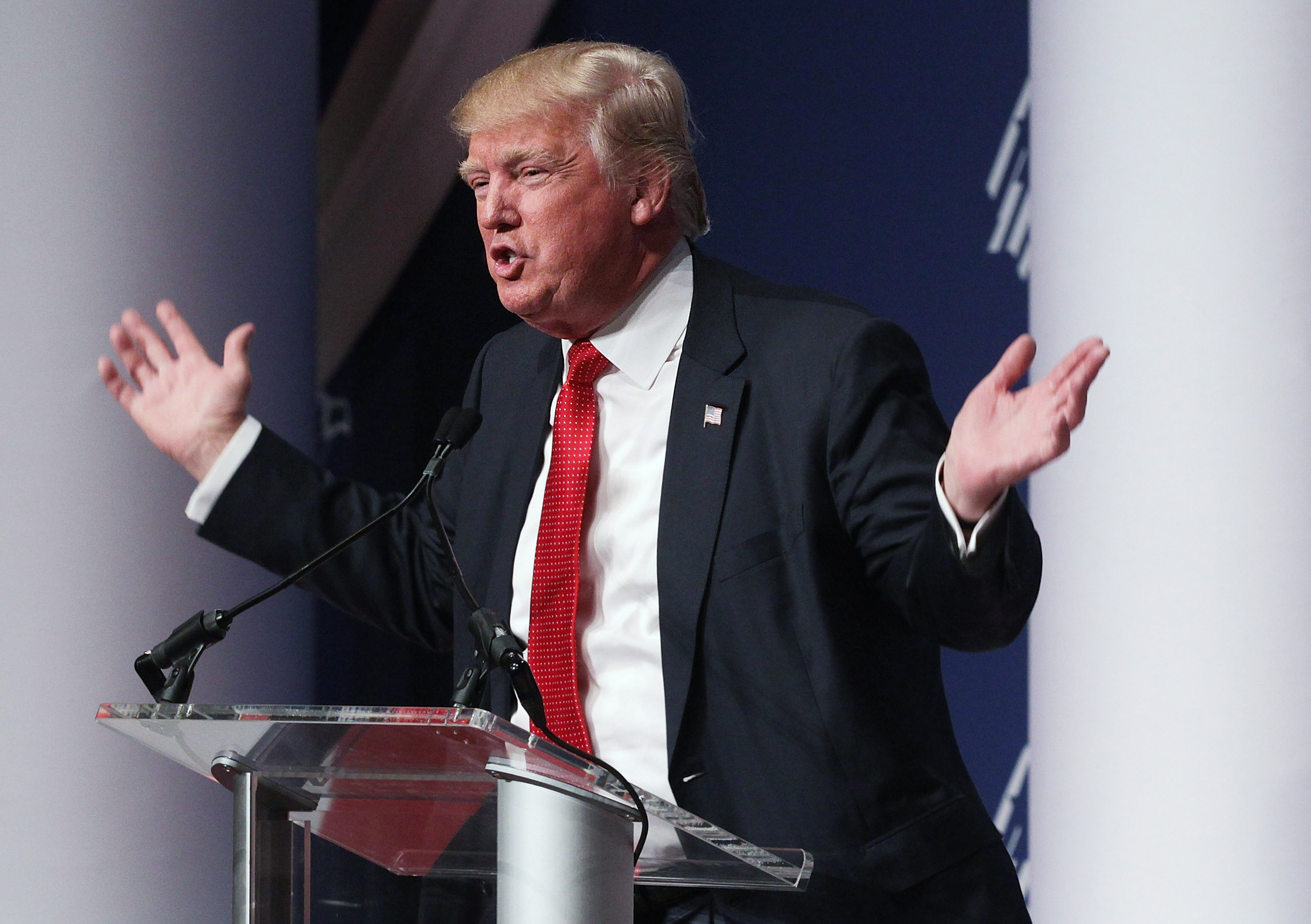 Republican presidential candidate Donald Trump addressing the Republican Jewish Coalition on December 3, 2015.