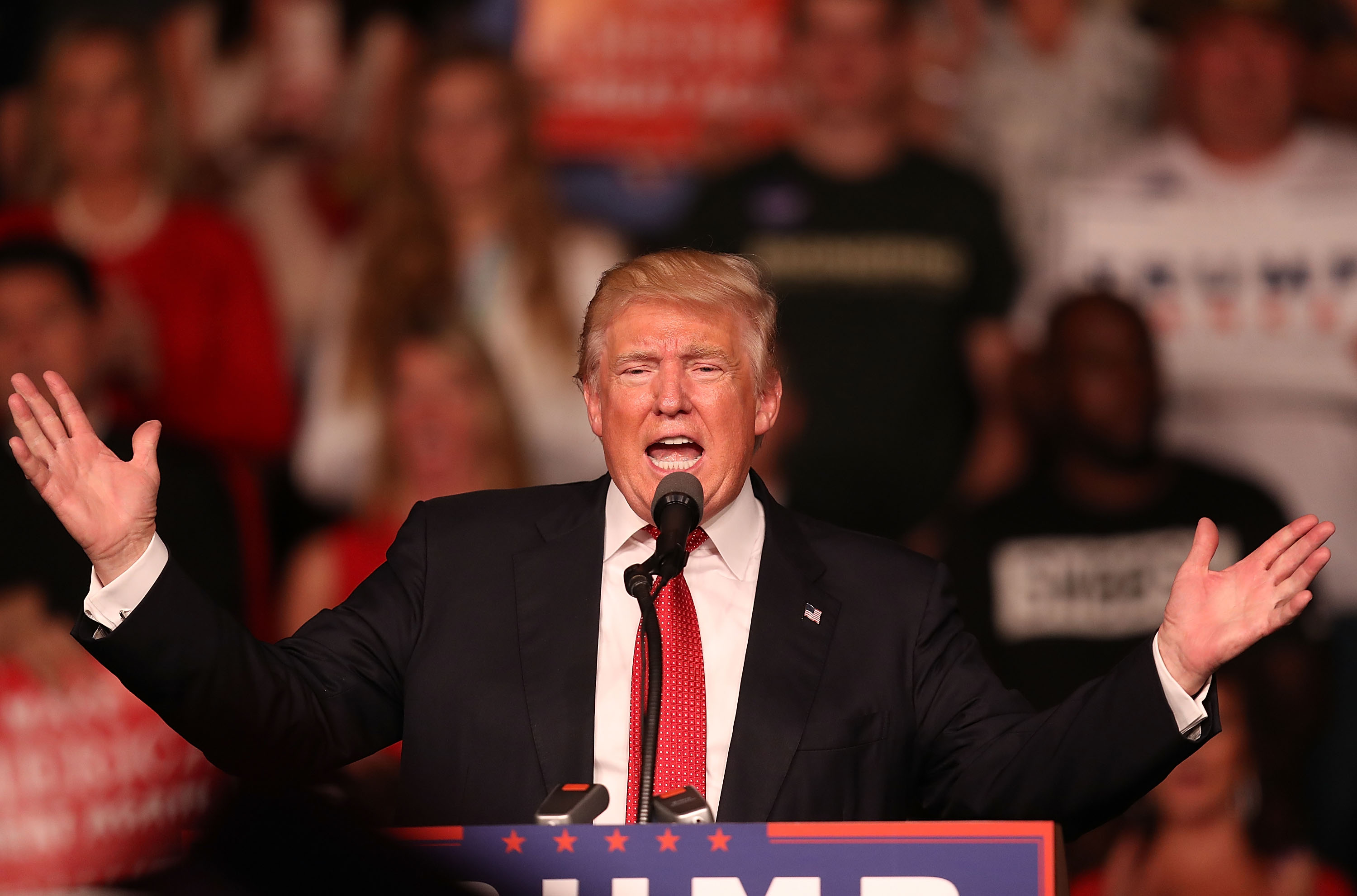 Republican presidential candidate Donald Trump speaks during a campaign rally at the Germain Arena on Sept. 19, 2016 in Estero, Florida.