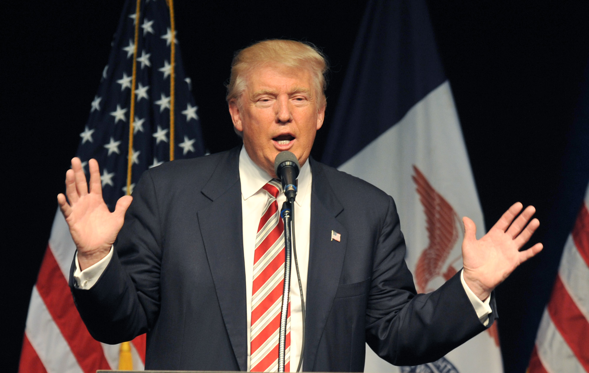 Republican Presidential nominee Donald Trump speaks at a campaign rally on September 13, 2016 in Clive, Iowa.