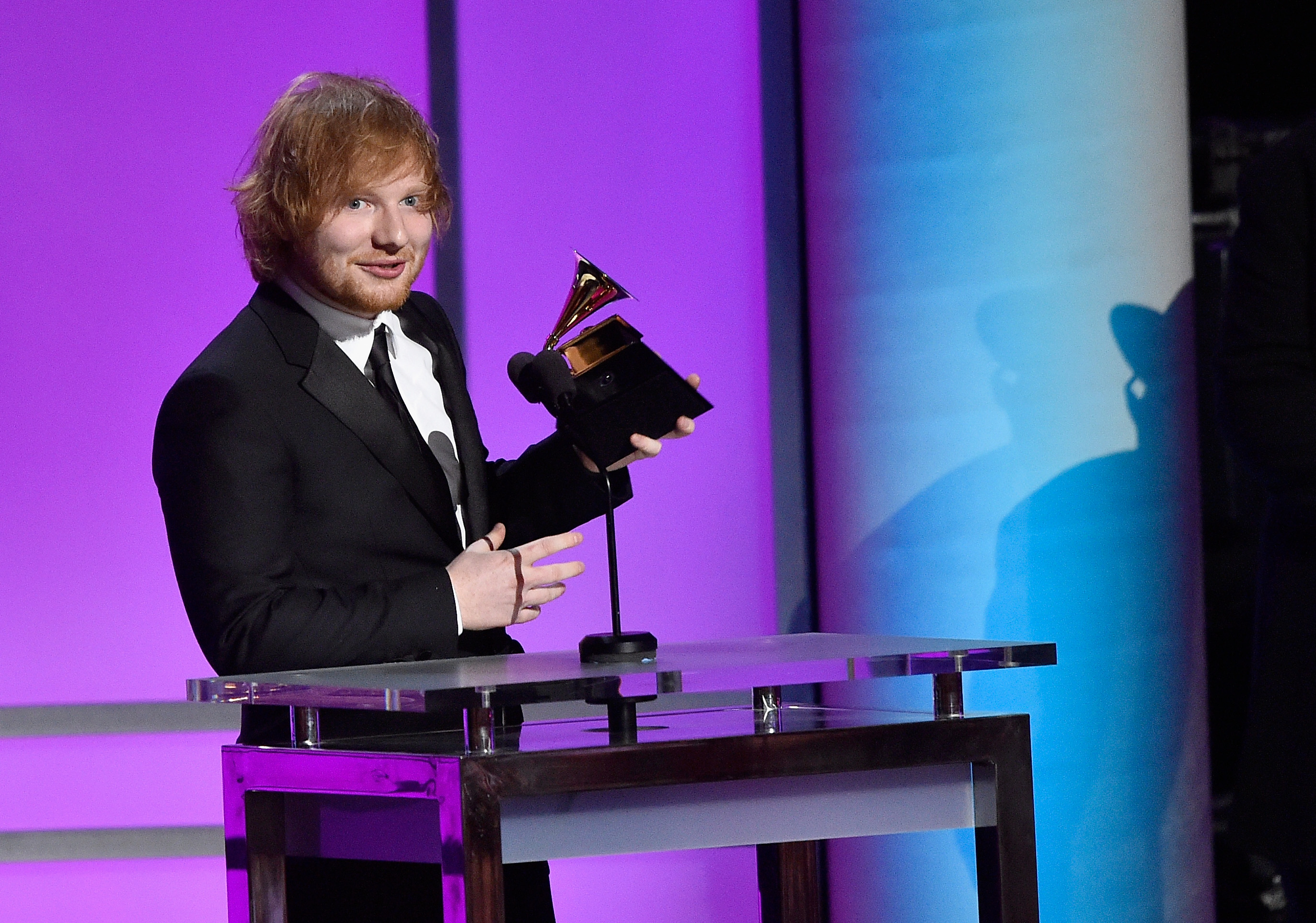 Singer-songwriter Ed Sheeran accepts the Grammy Award for Best Pop Solo Performance, for  Thinking Out Loud,  onstage during the GRAMMY Pre-Telecast at The 58th GRAMMY Awards at Microsoft Theater on February 15, 2016 in Los Angeles, California.